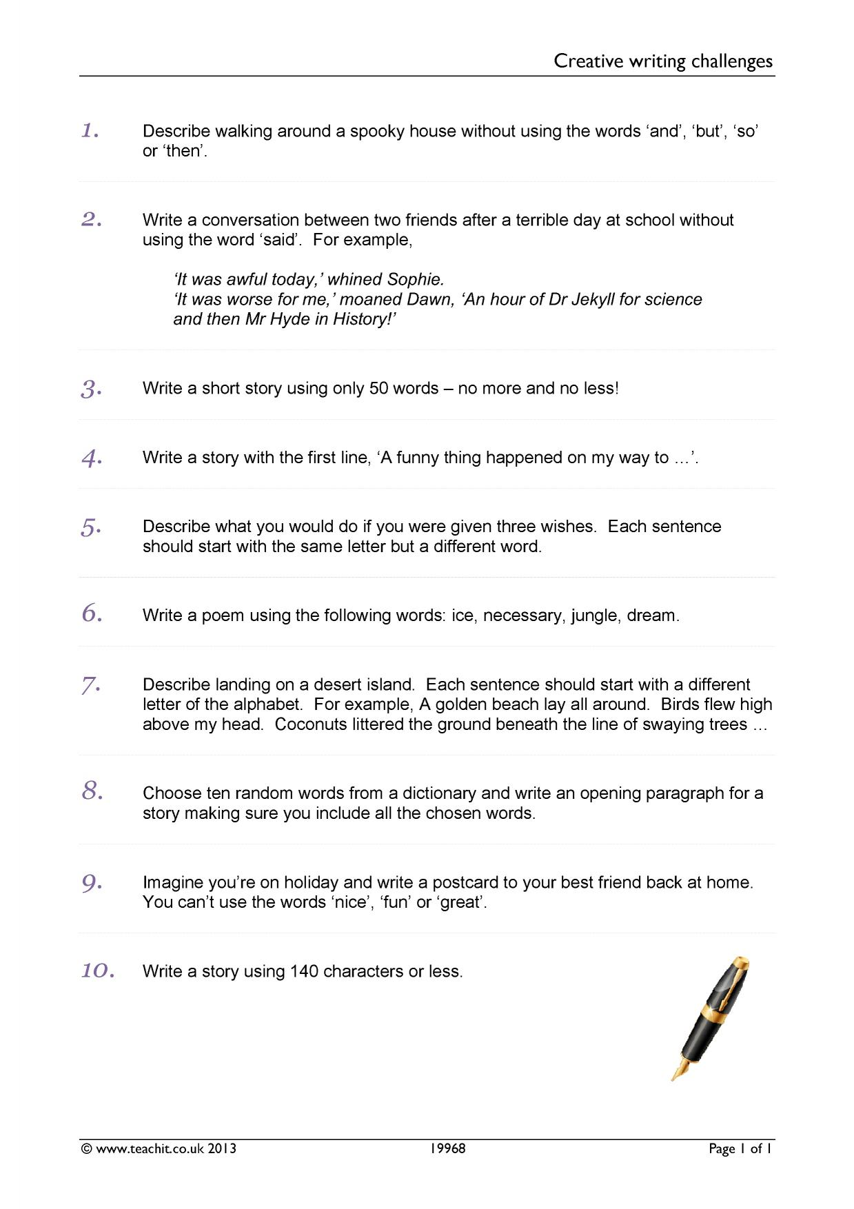 Creative Writing Homework Ks3