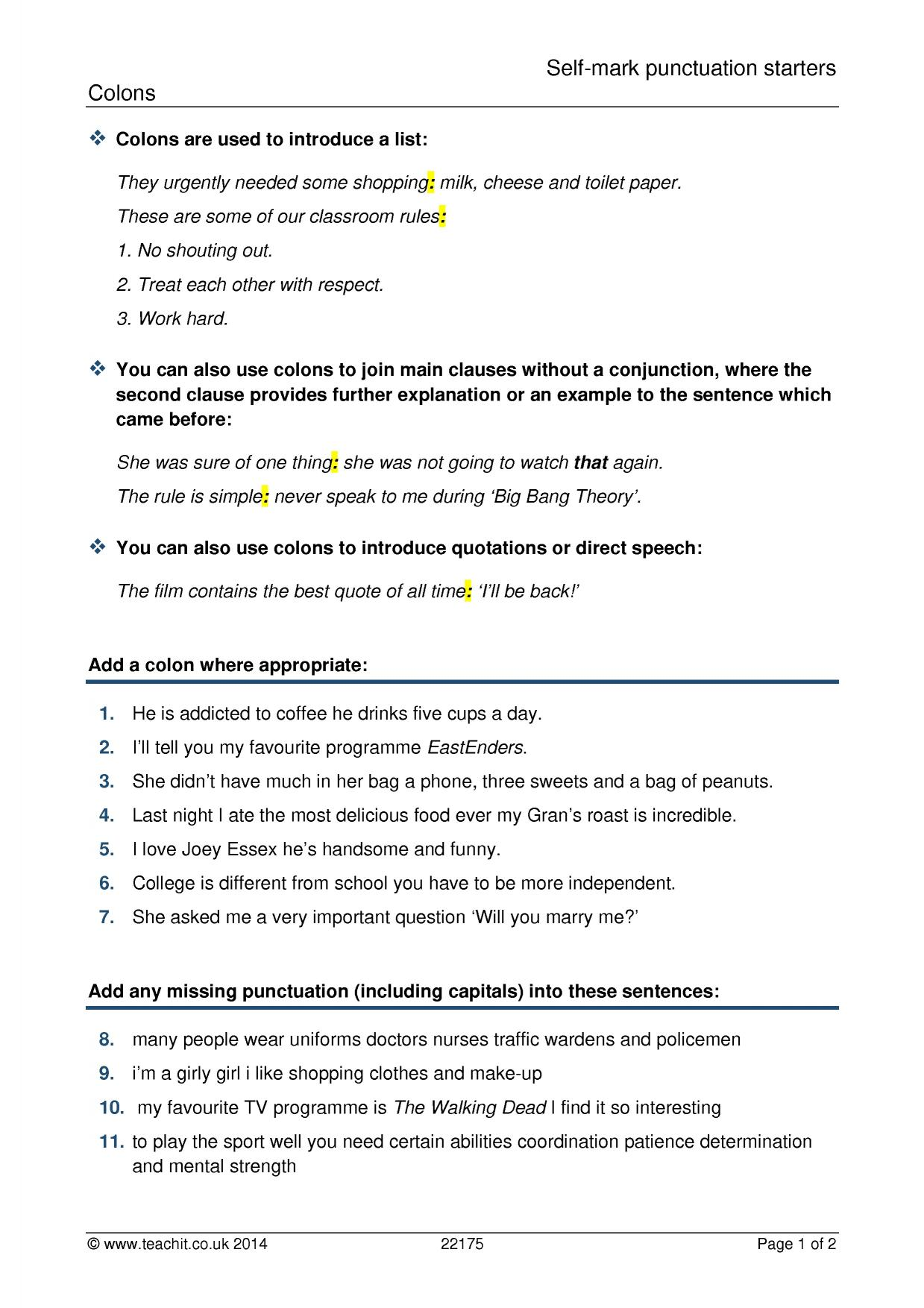 Semicolons Worksheet 15