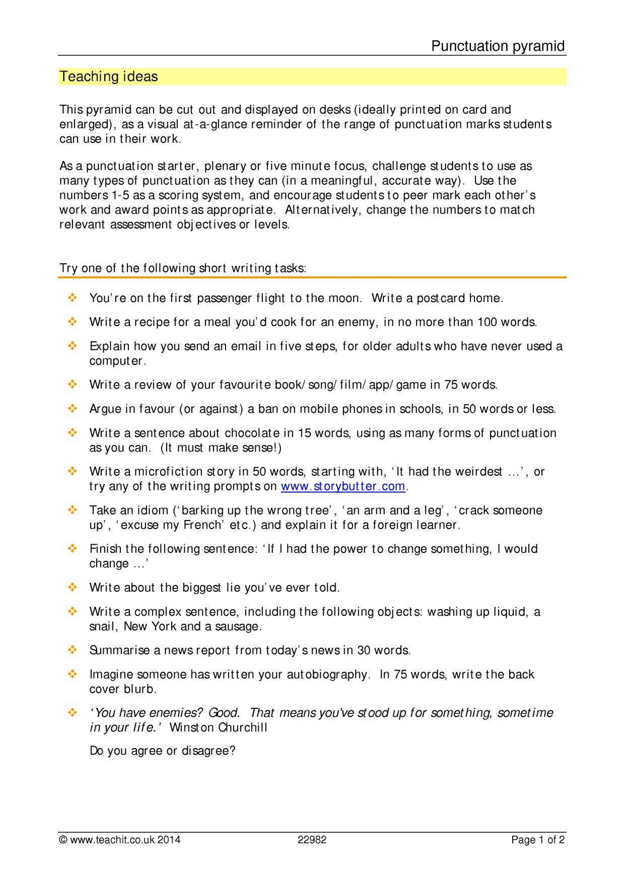 Year 8 Punctuation Worksheet