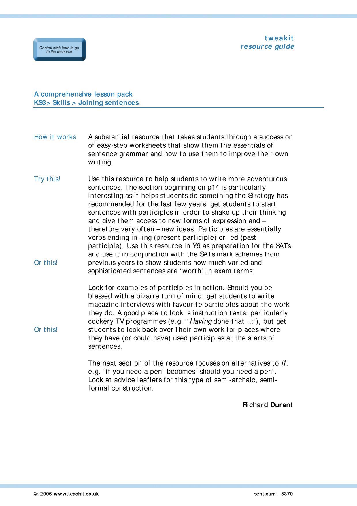 Grammar Ks3 Worksheets