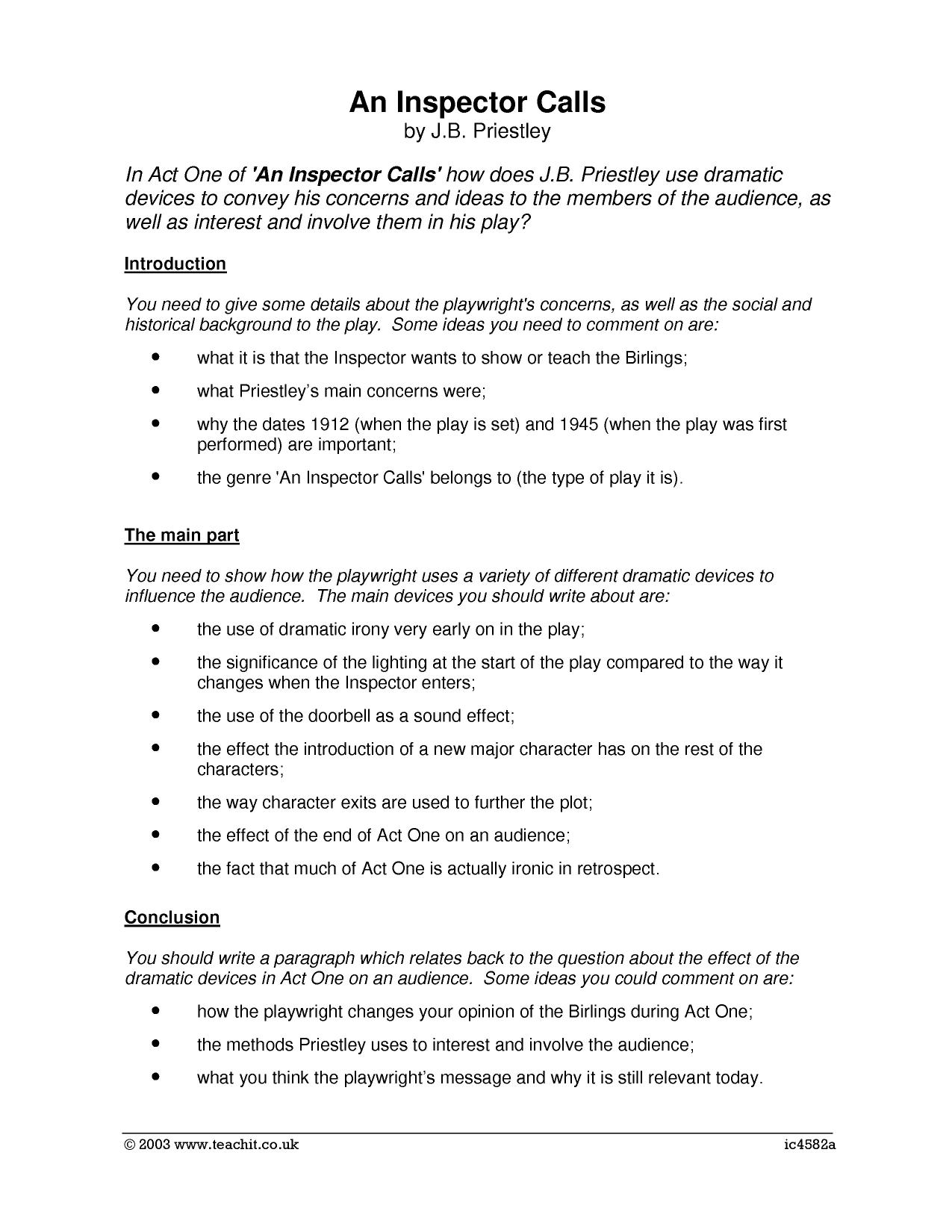 Essay Guide Dramatic Devices In Act 1
