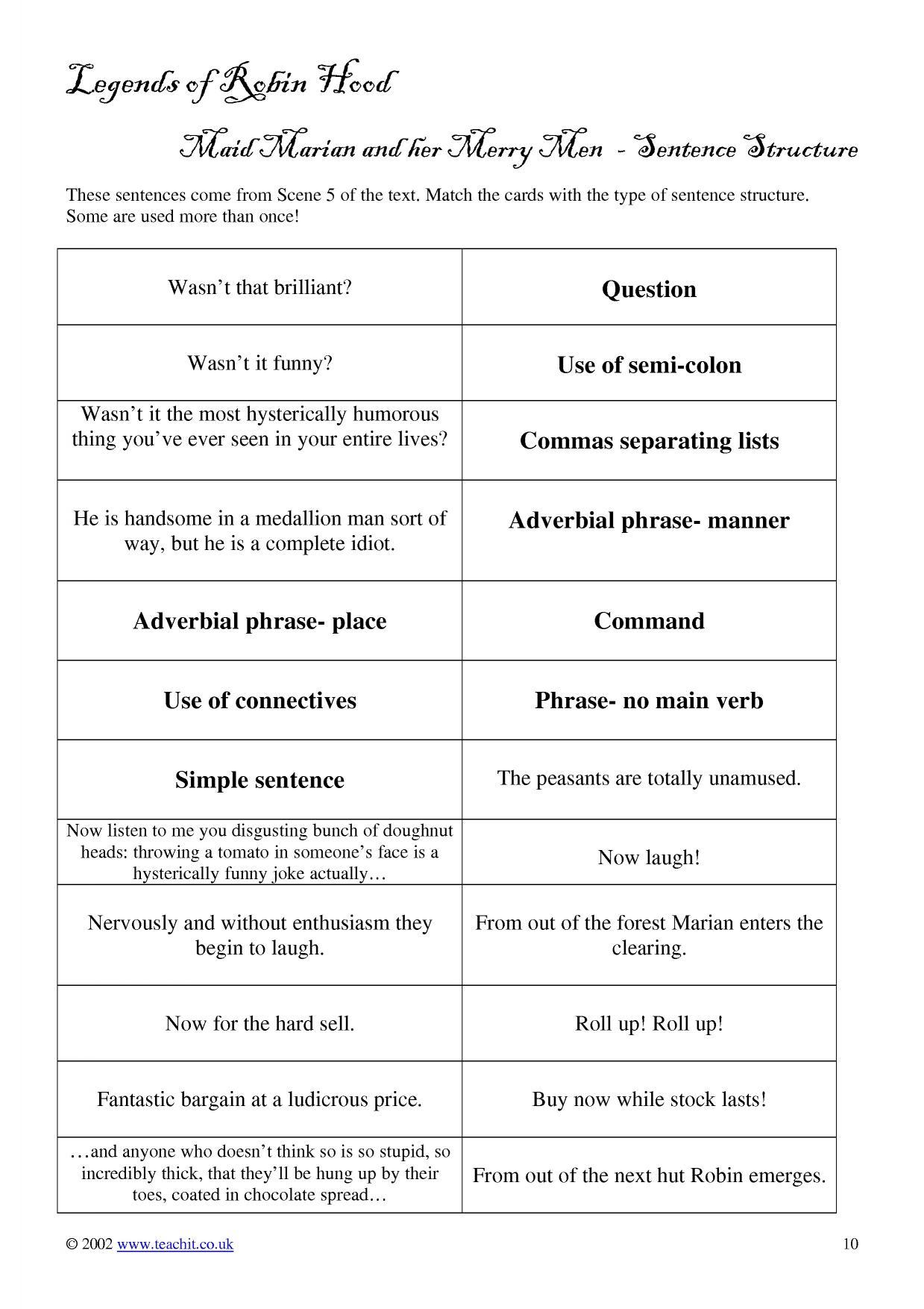 Scene 5 Sentence Starter Activity Match The Sentence To Its Type