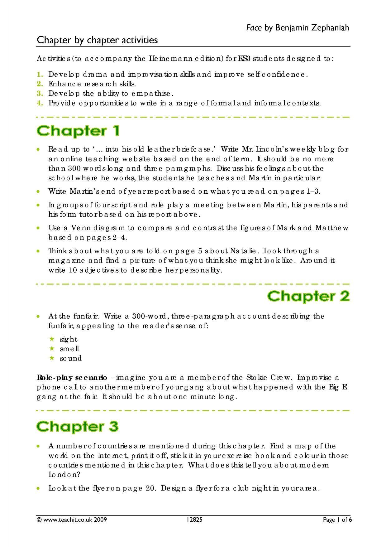 Chapter By Chapter Activities