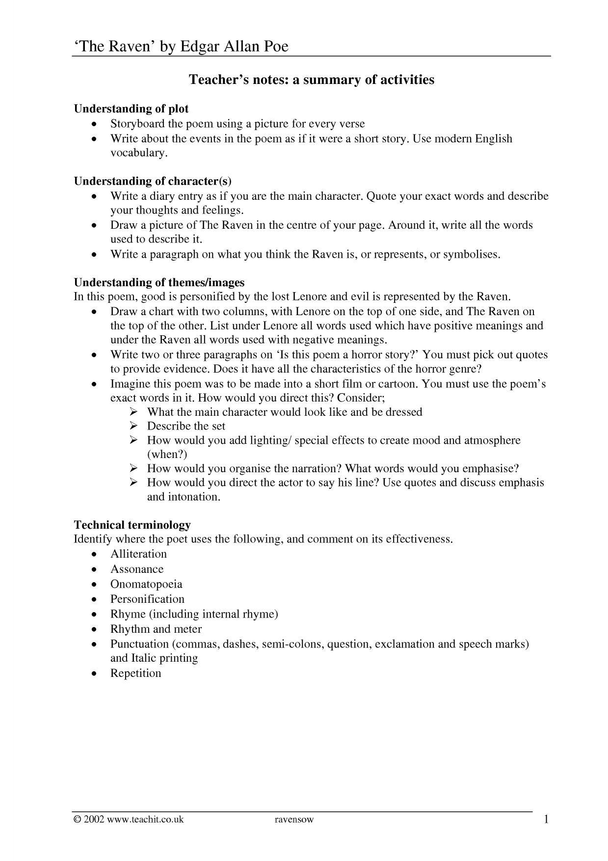 The Raven Scheme Of Work