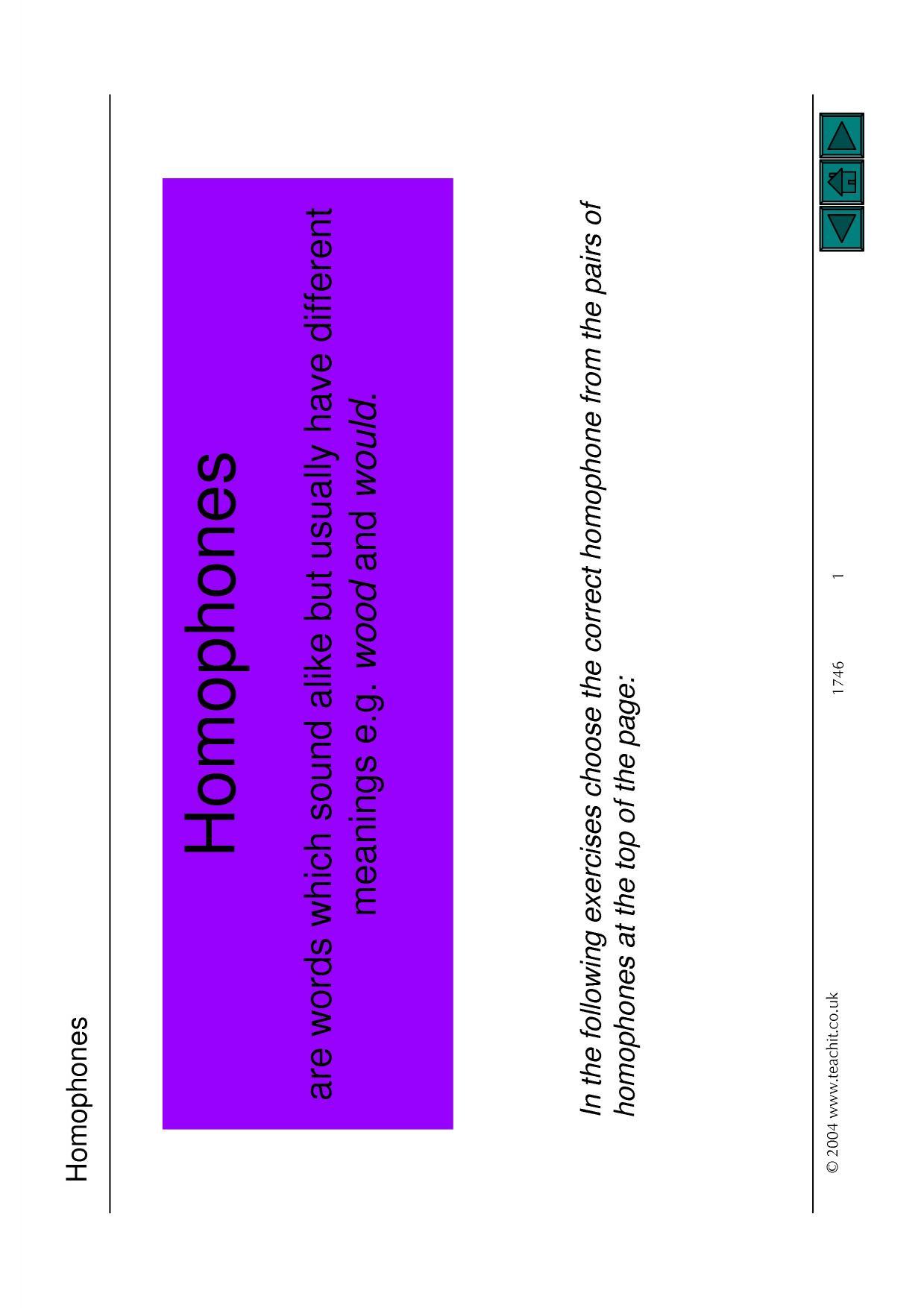 Printables Of Homophones Worksheet Teachit