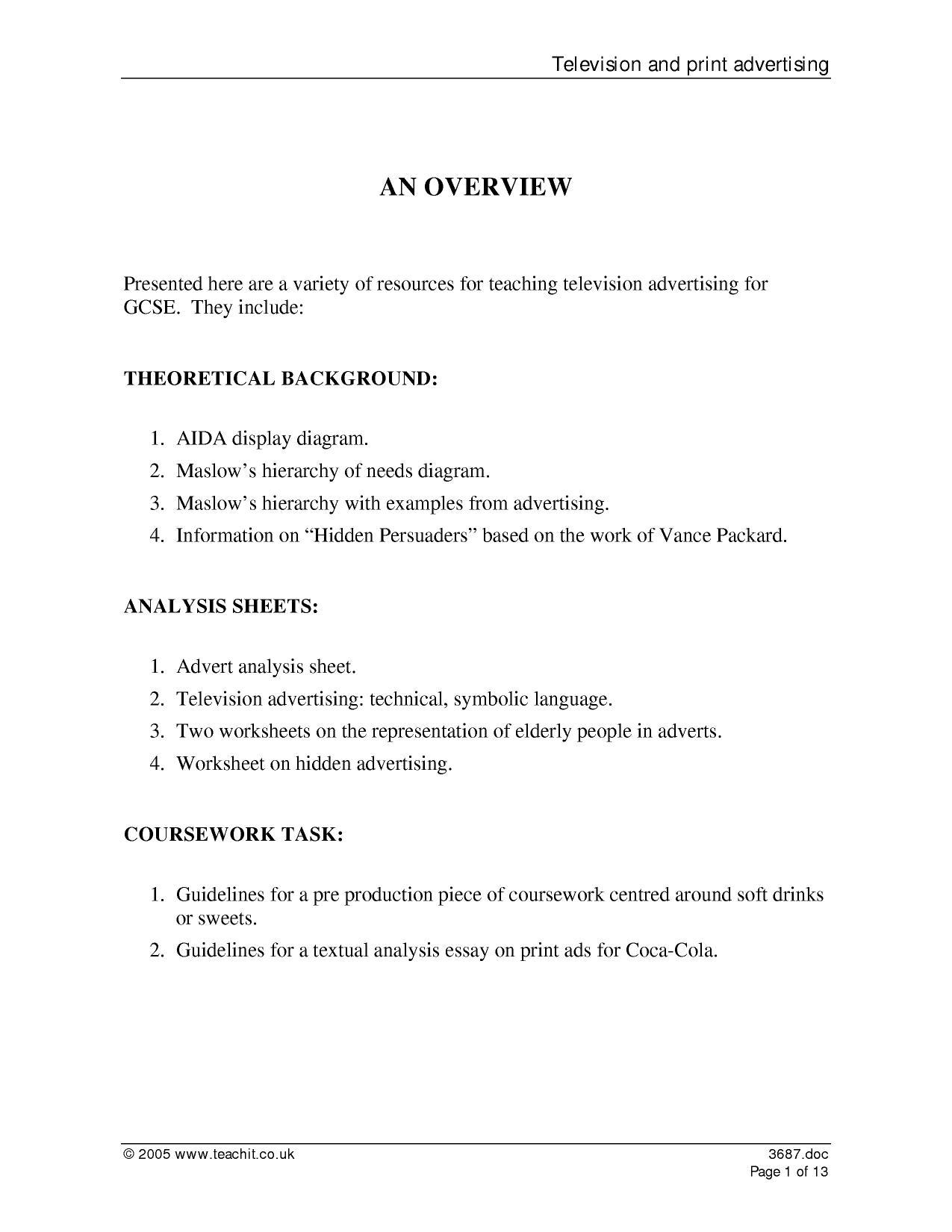 Create An Advertisement Worksheet