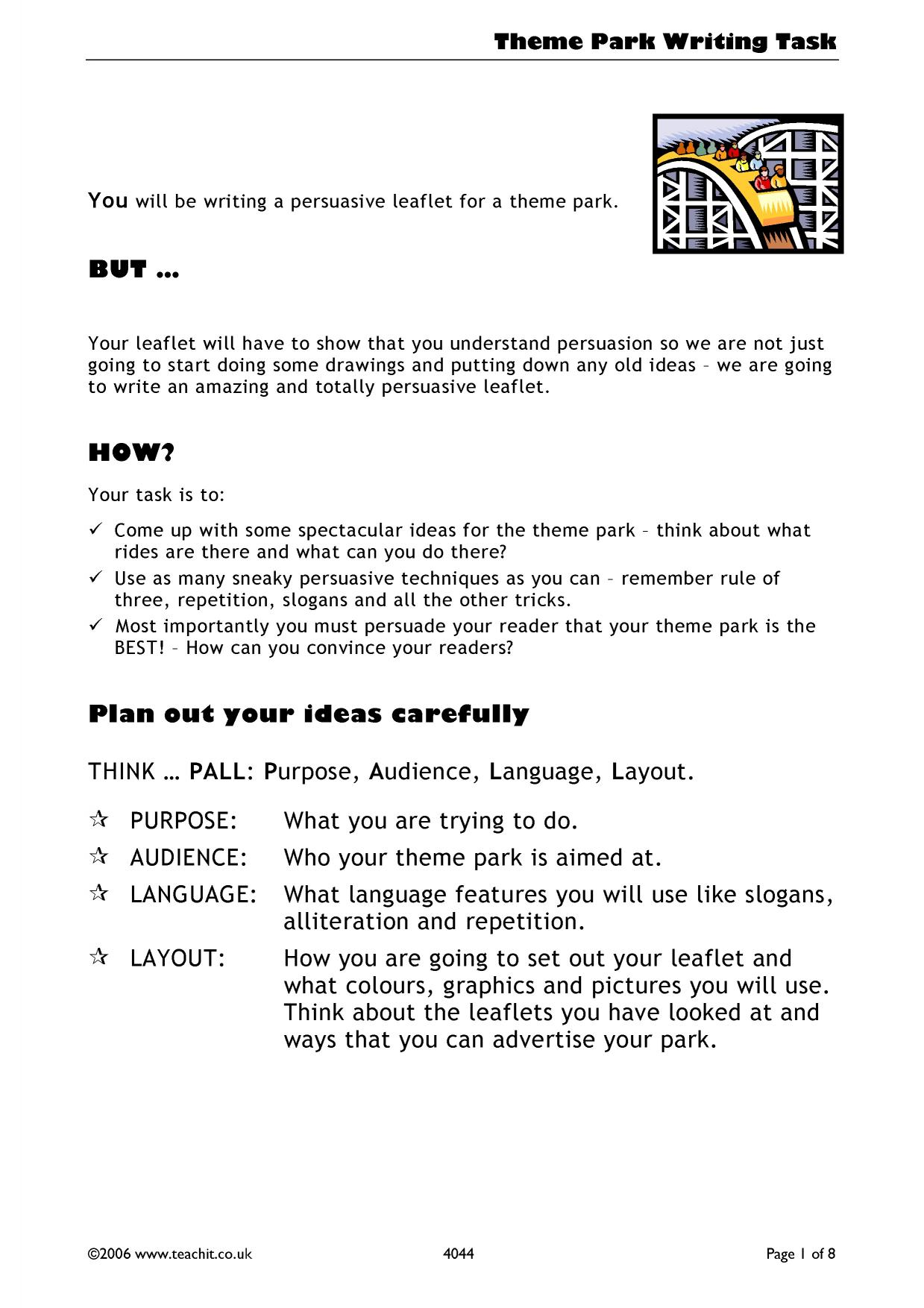 Theme Park Persuasive Writing Leaflet