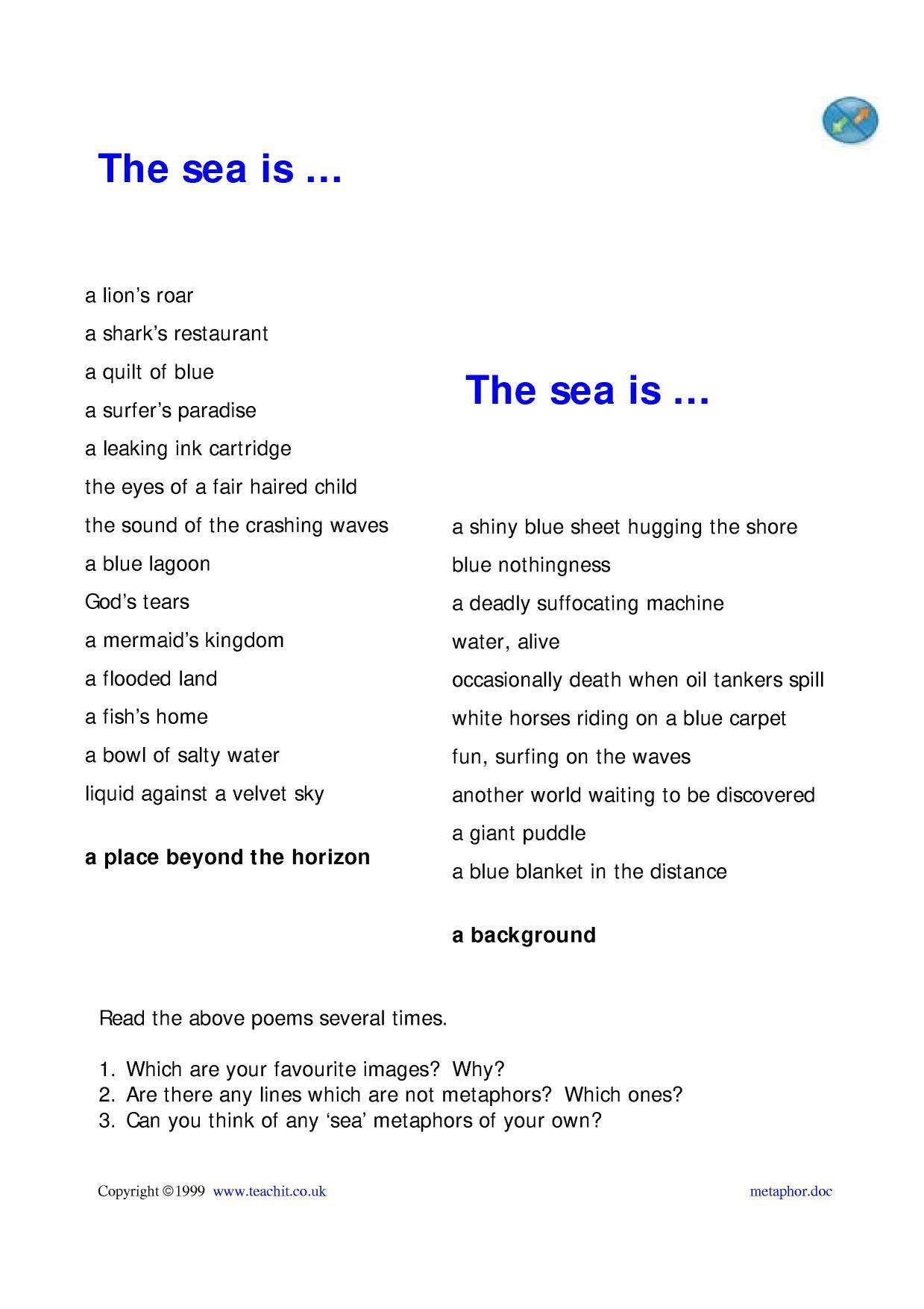 55 Lovely Metaphor Poems For Kids