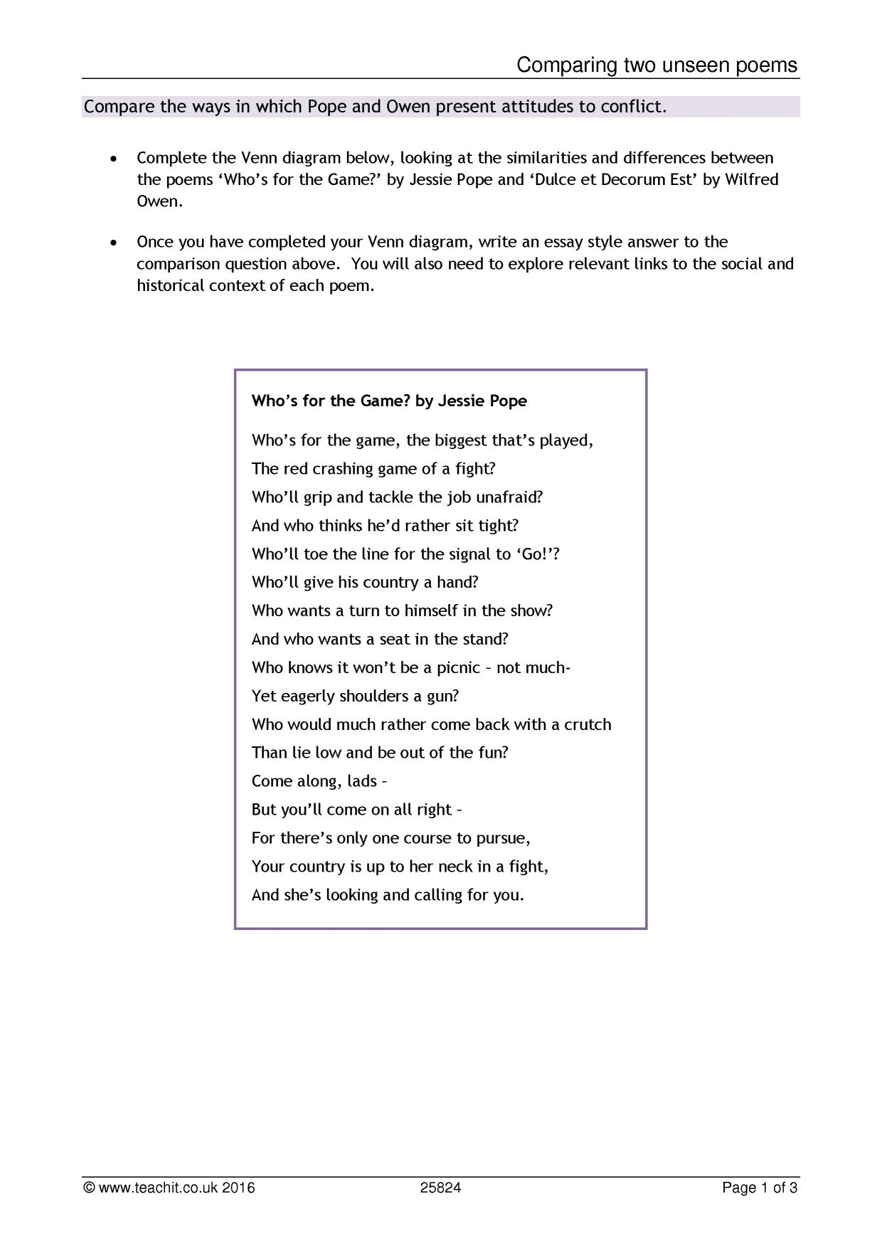 How To Start A Poetry Comparison Essay How To Write A
