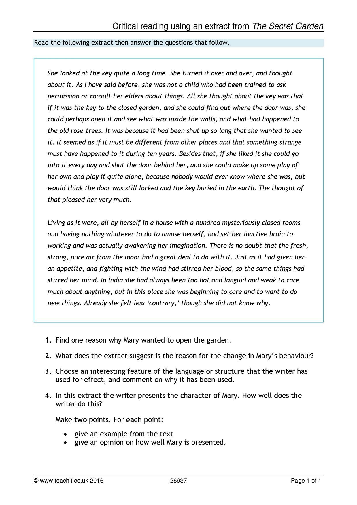 English Worksheet Entry 3