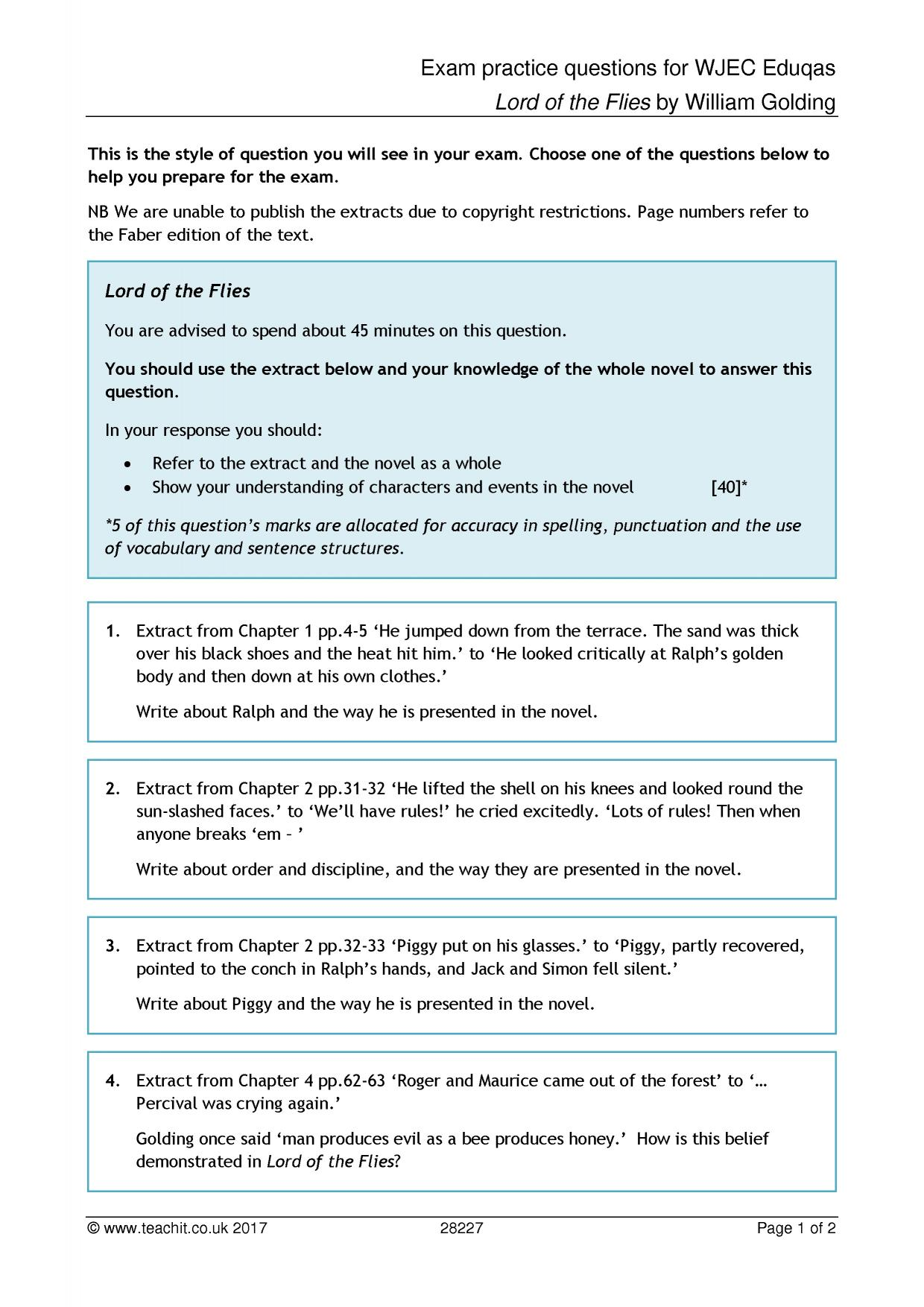 Exam Practice Questions For Wjec Eduqas