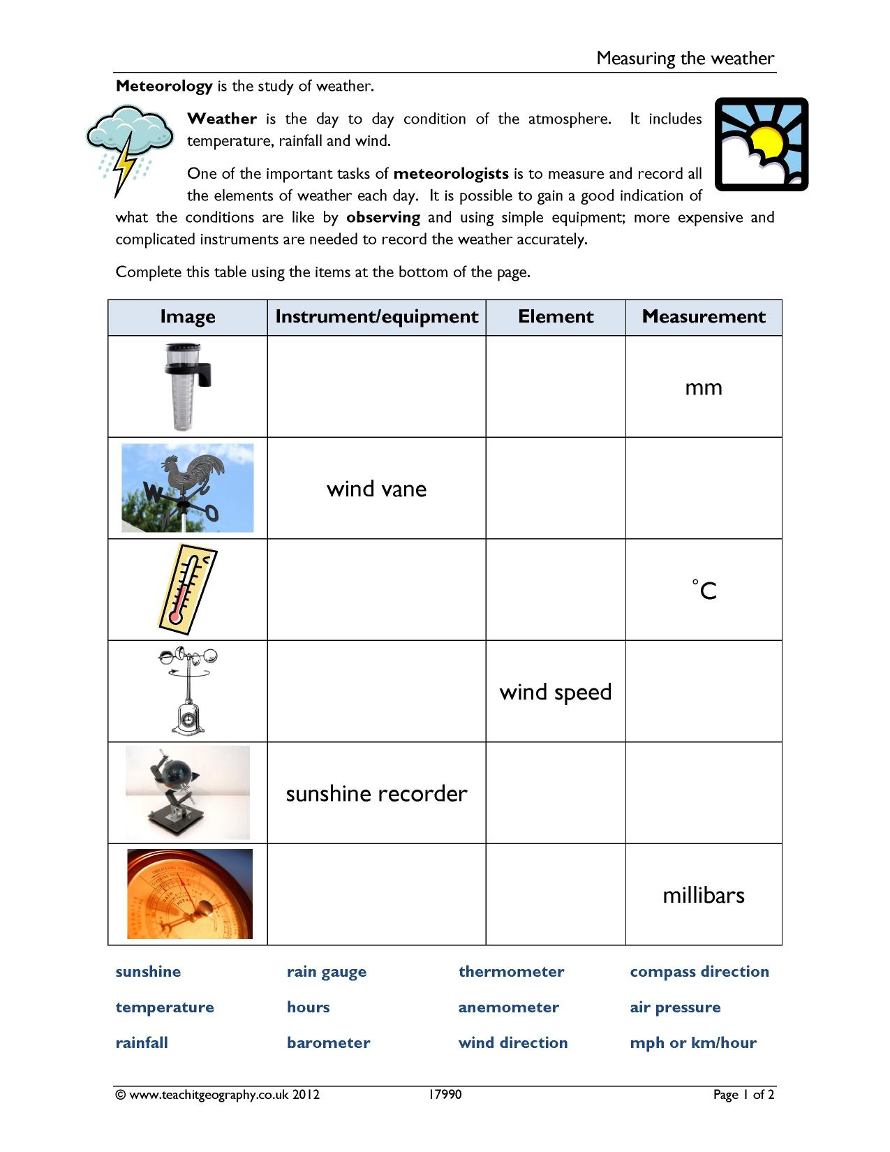 Worksheet On Weather Instruments