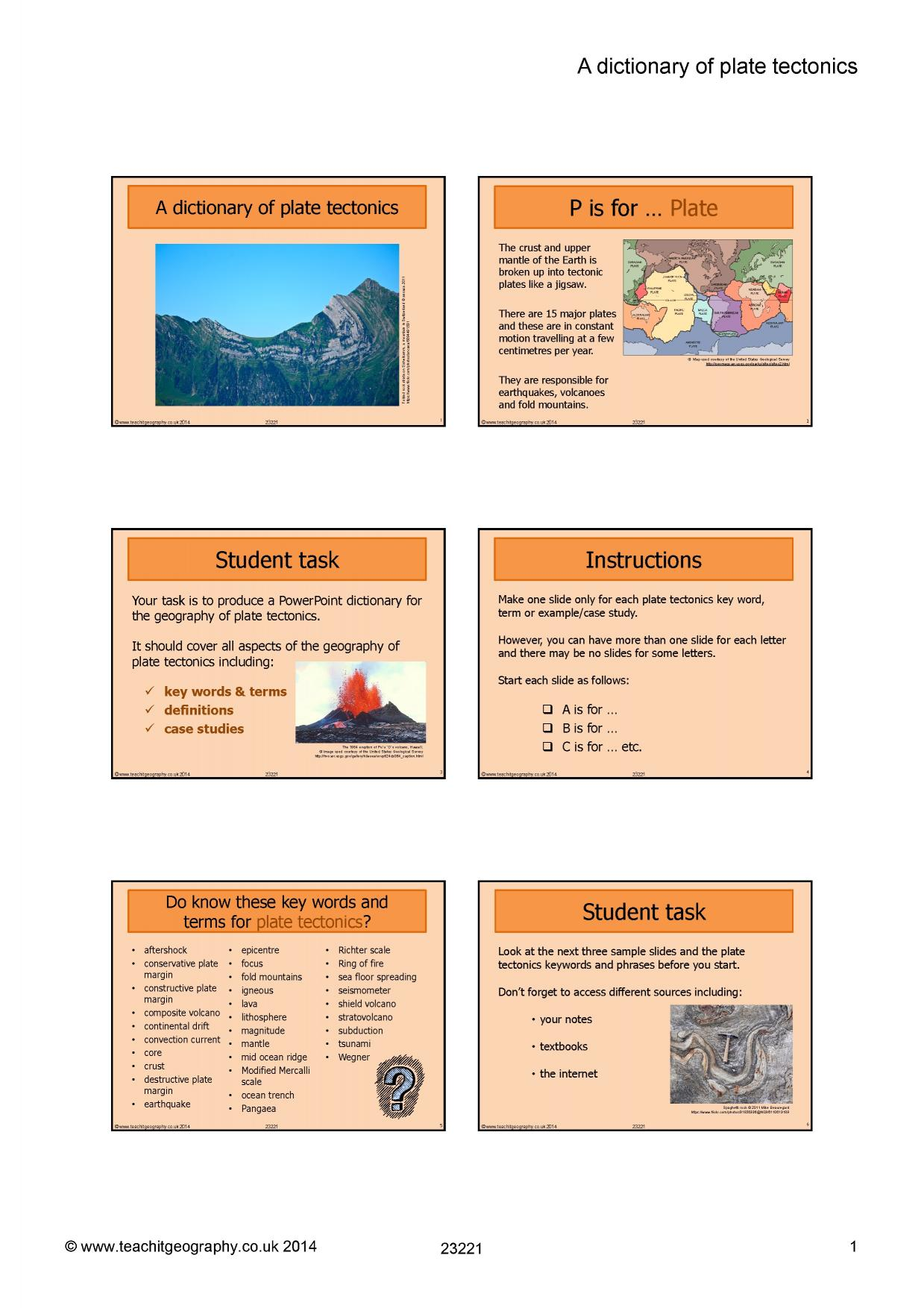 A Dictionary Of Plate Tectonics