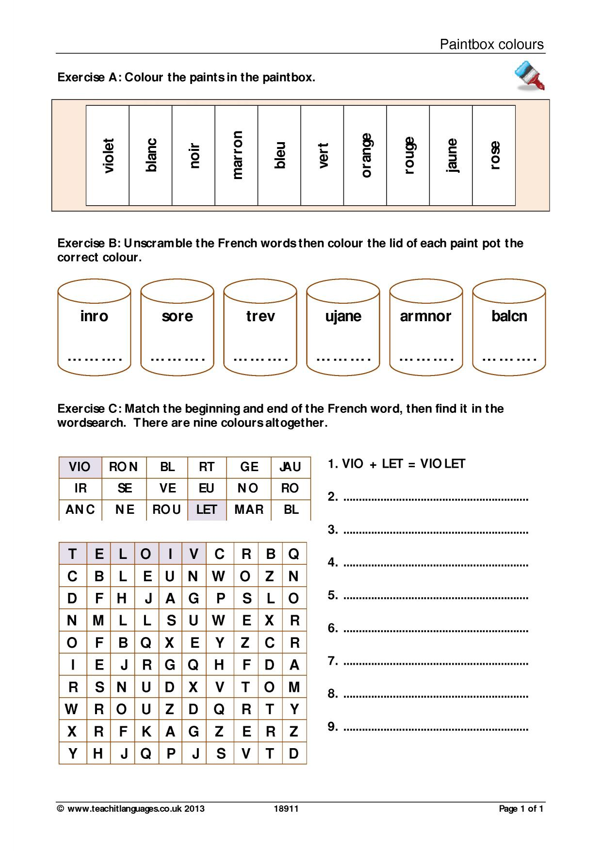 French Wordsearch Ks3 Romantic Words