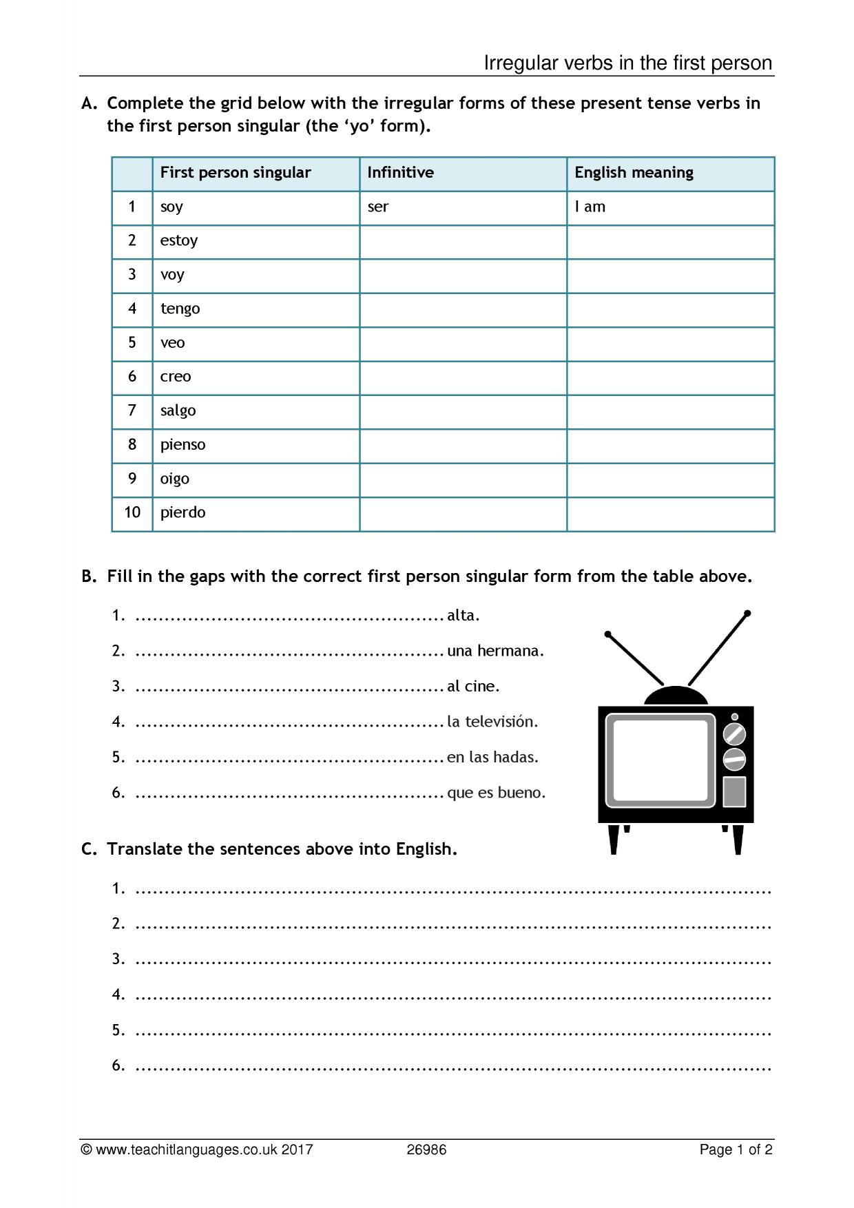 Present Tense Revision French Worksheet