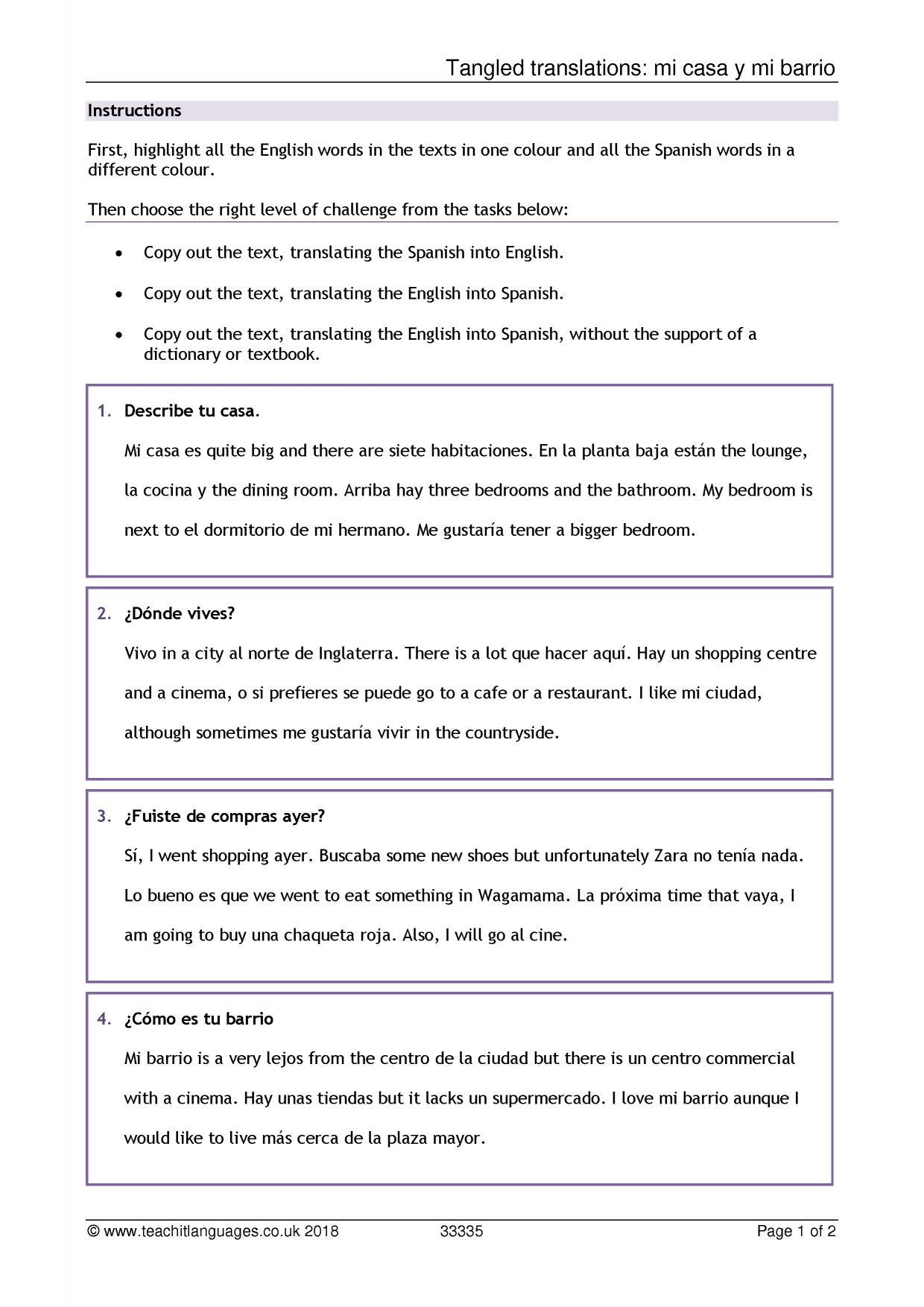 Year 7 Spanish Revision Worksheets