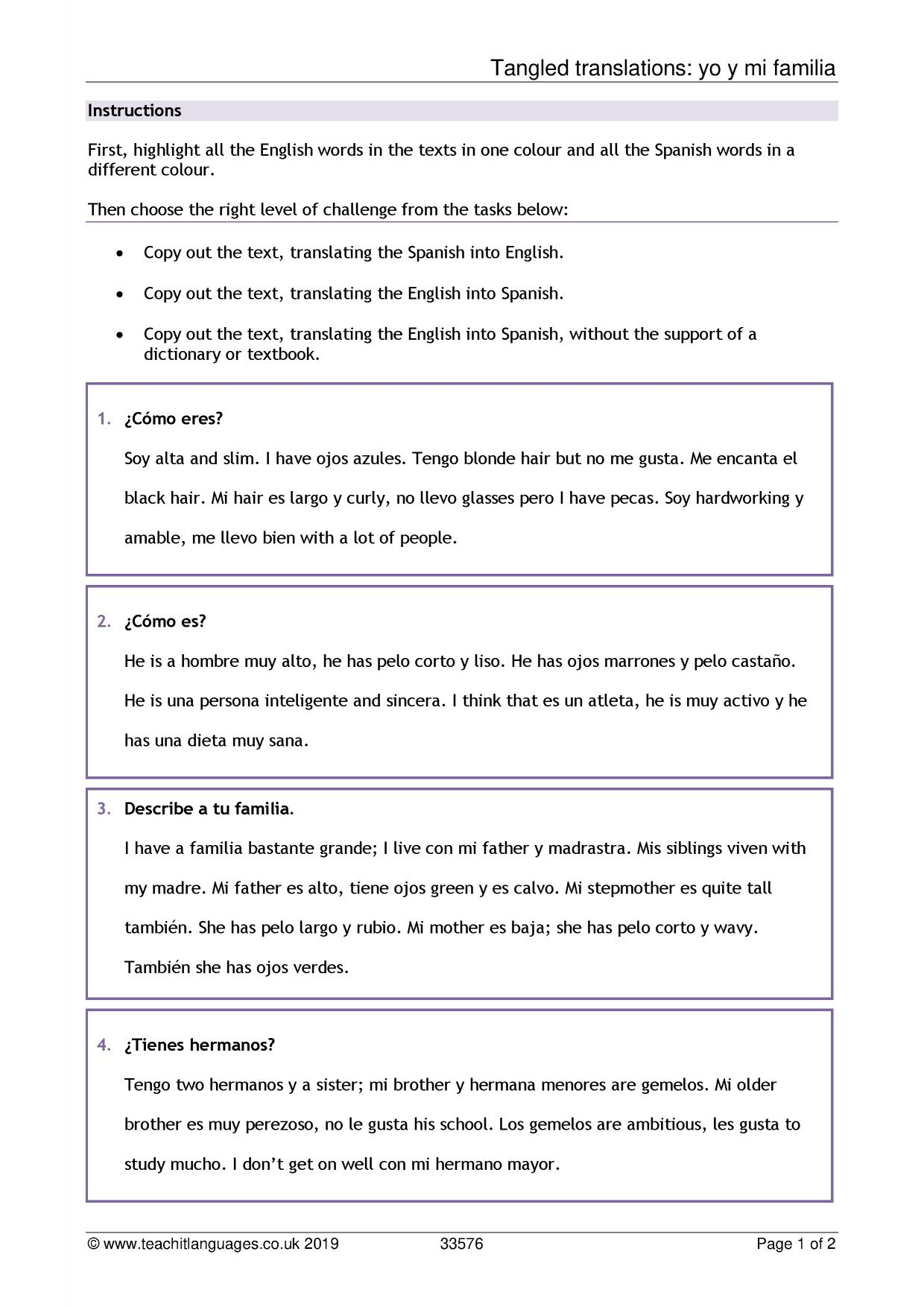 Printables Of Year 7 Spanish Revision Worksheets