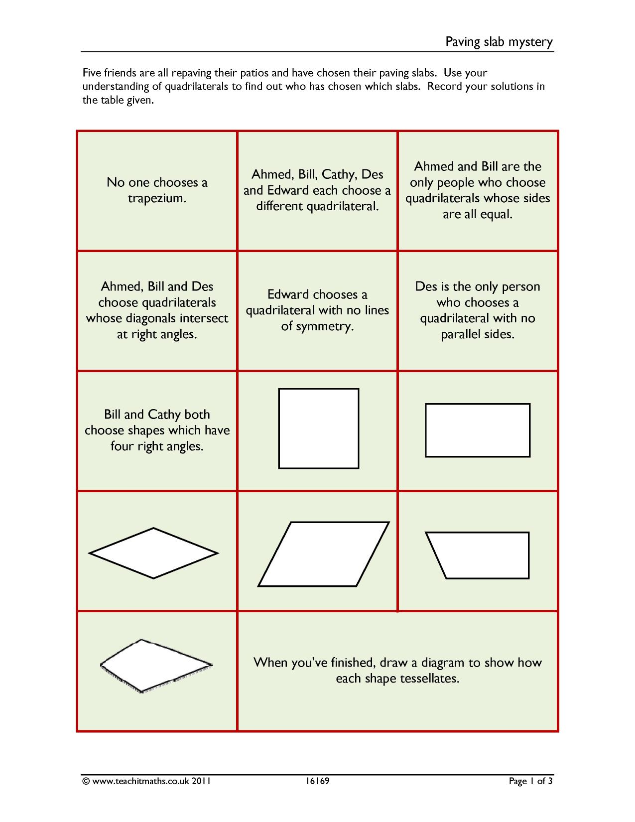 Angles In Quadrilaterals Rounding And Estimating Worksheets