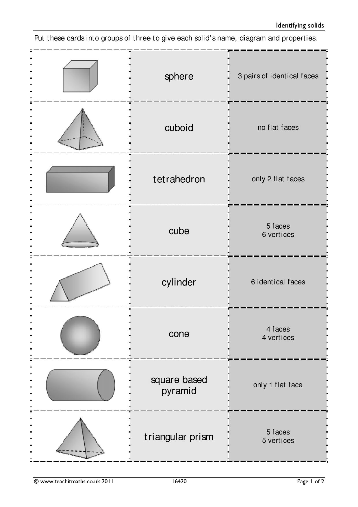 Nets Of 3d Shapes Worksheet Gcse