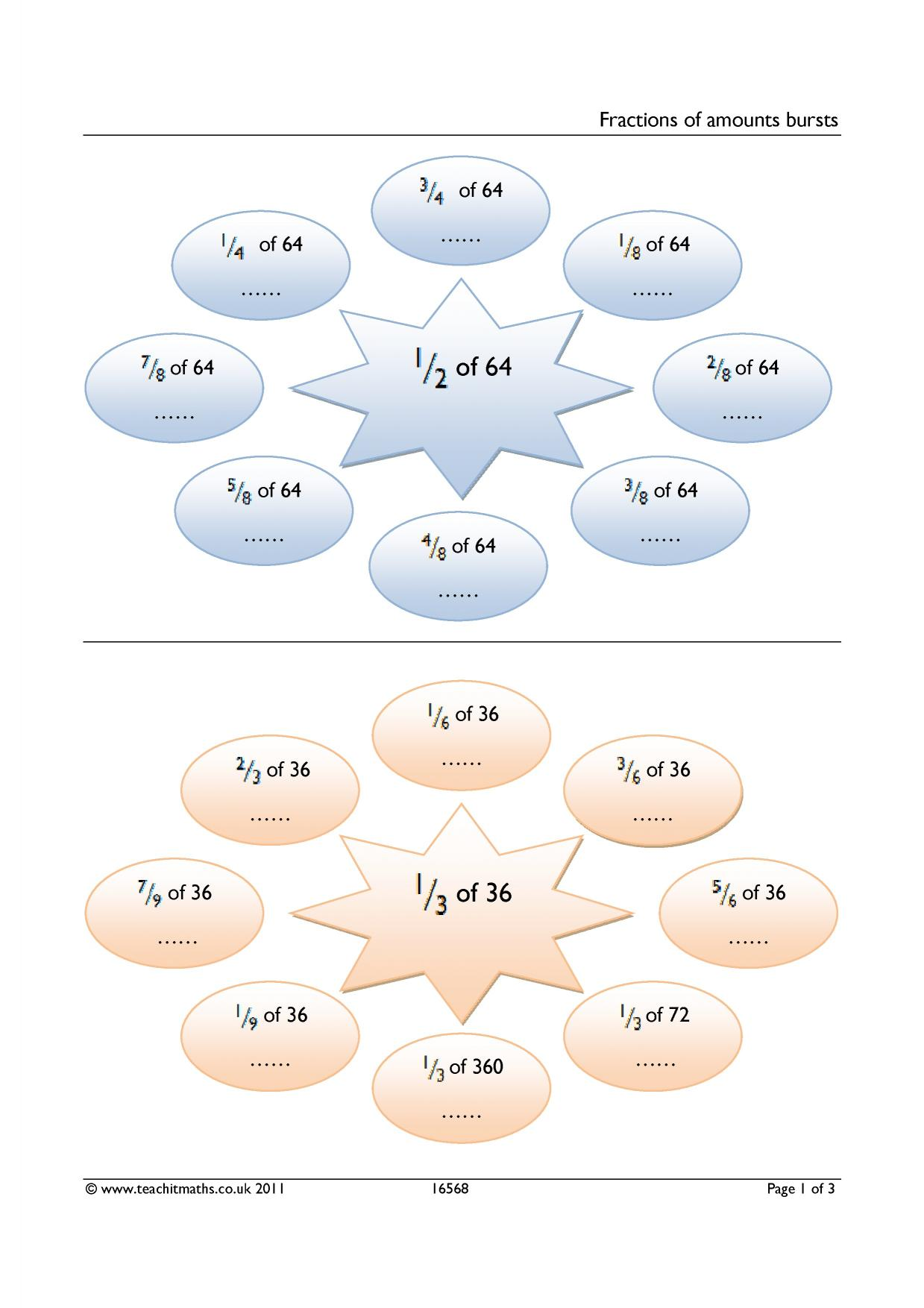 Fractions Fractions Of Amounts