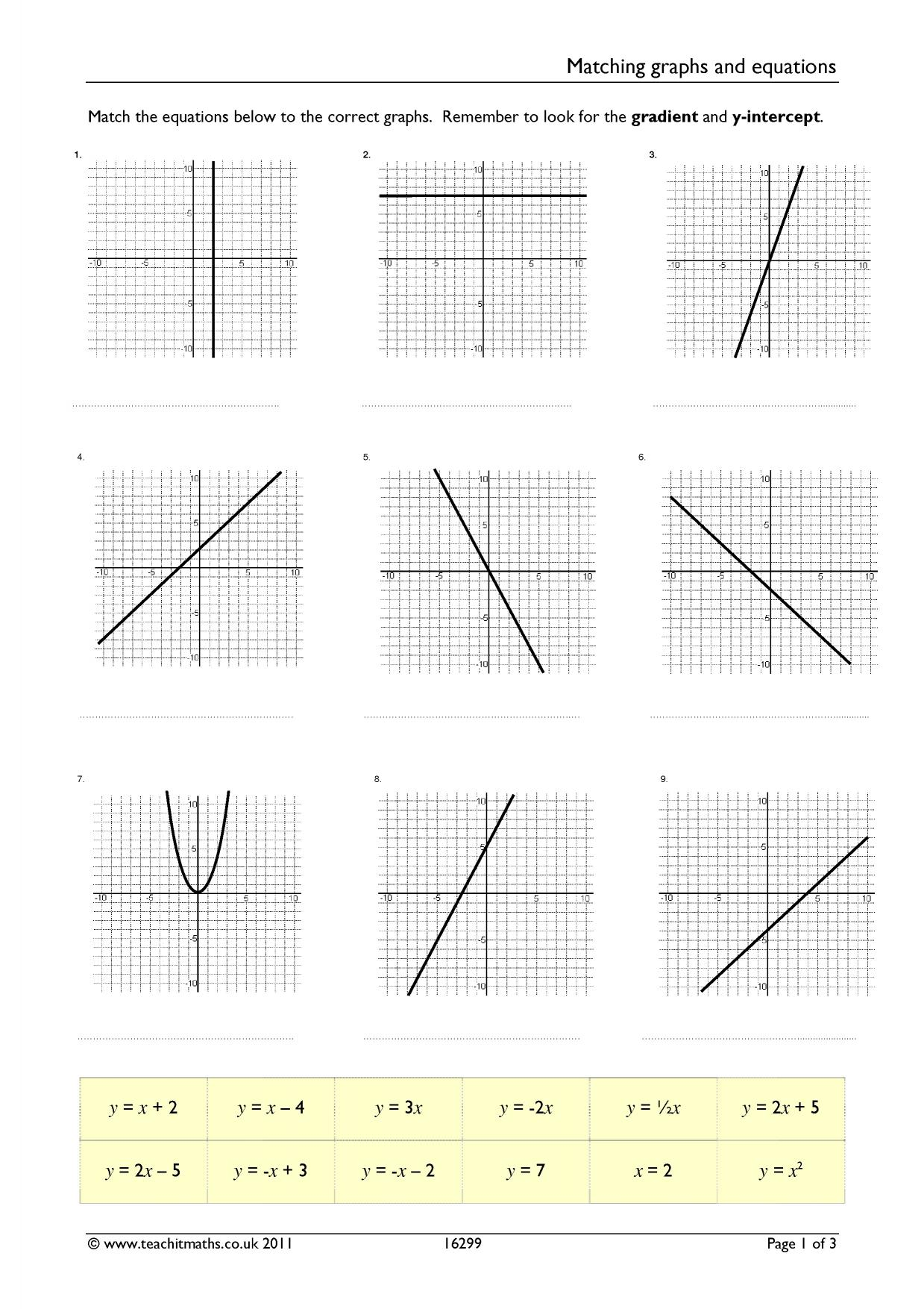 Matching Graphs And Linear Equations Differentiated Worksheet