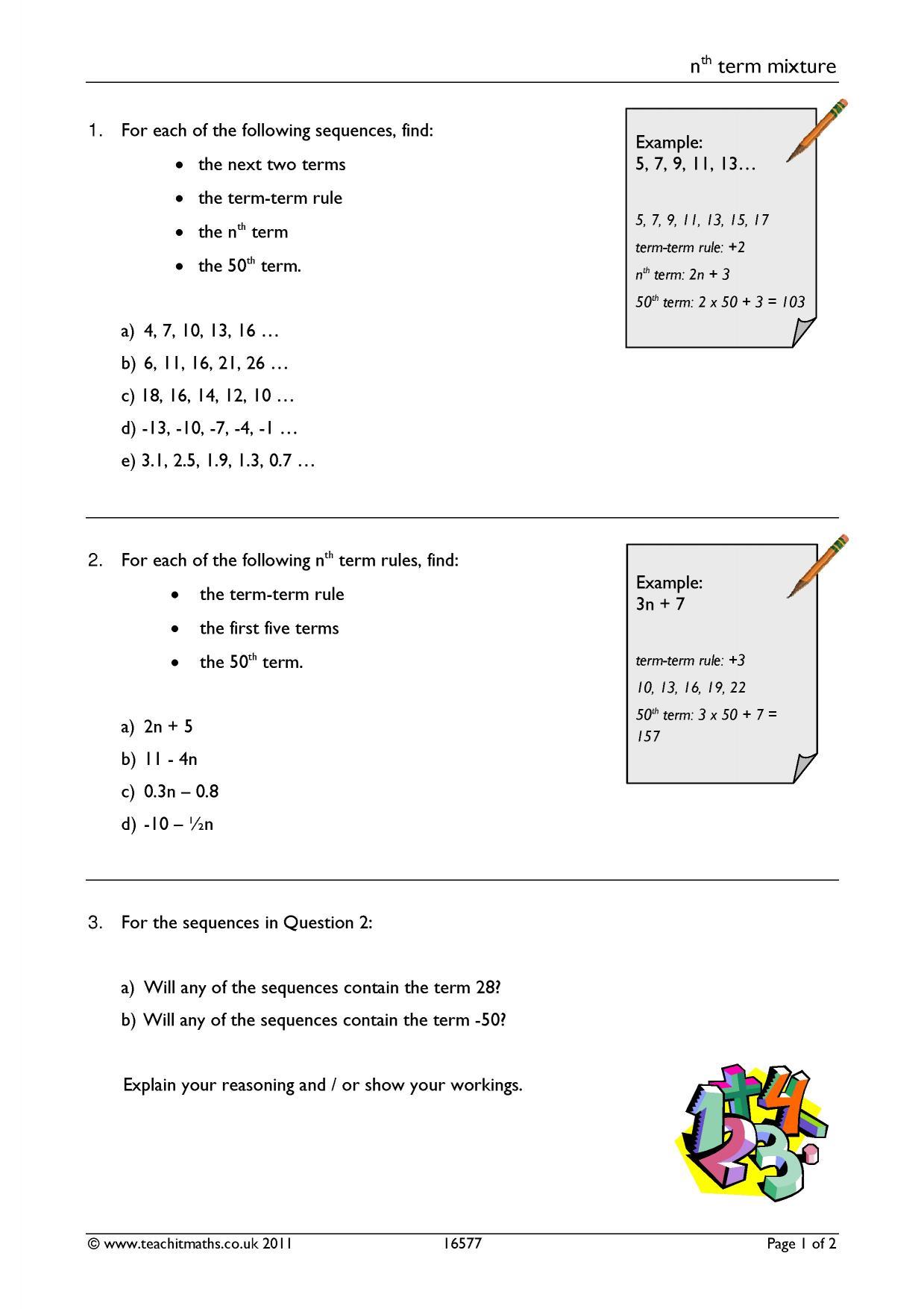 Worksheet On Quadratic Sequences