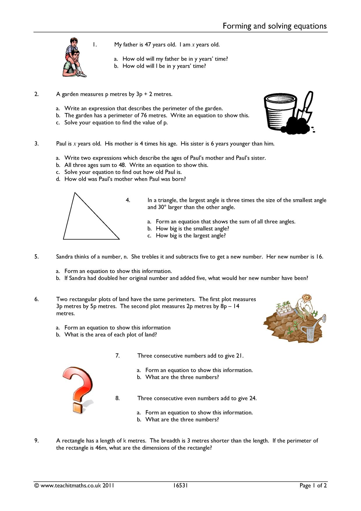 Forming And Solving Equations Worksheet Gcse