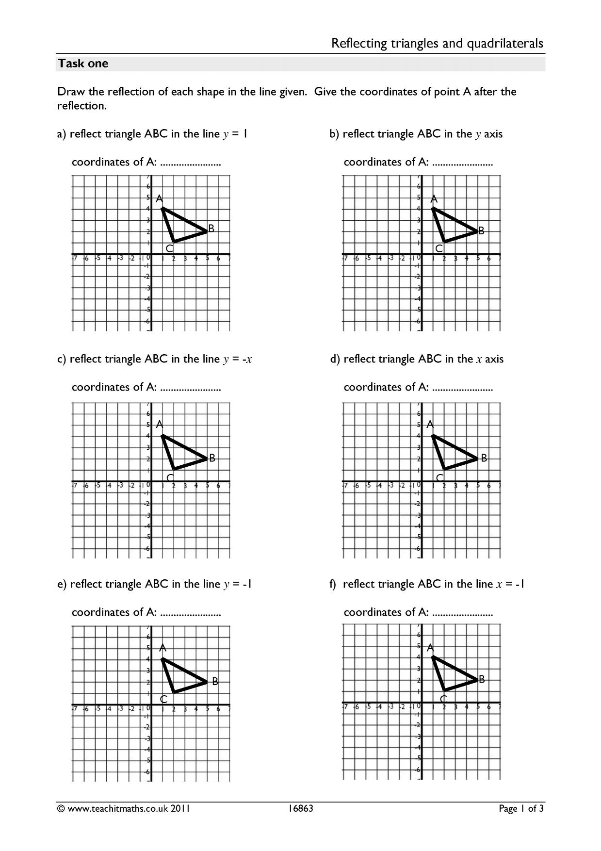 Reflecting Triangles And Quadrilaterals