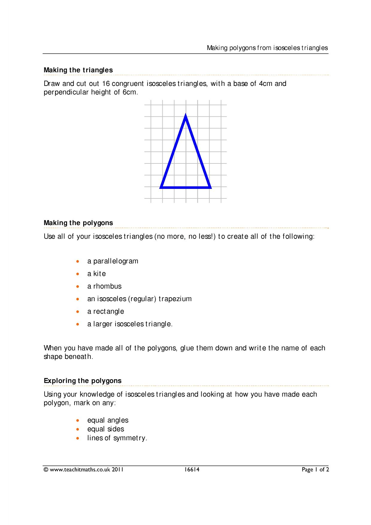 2d Shapes Identifying Triangles And Special