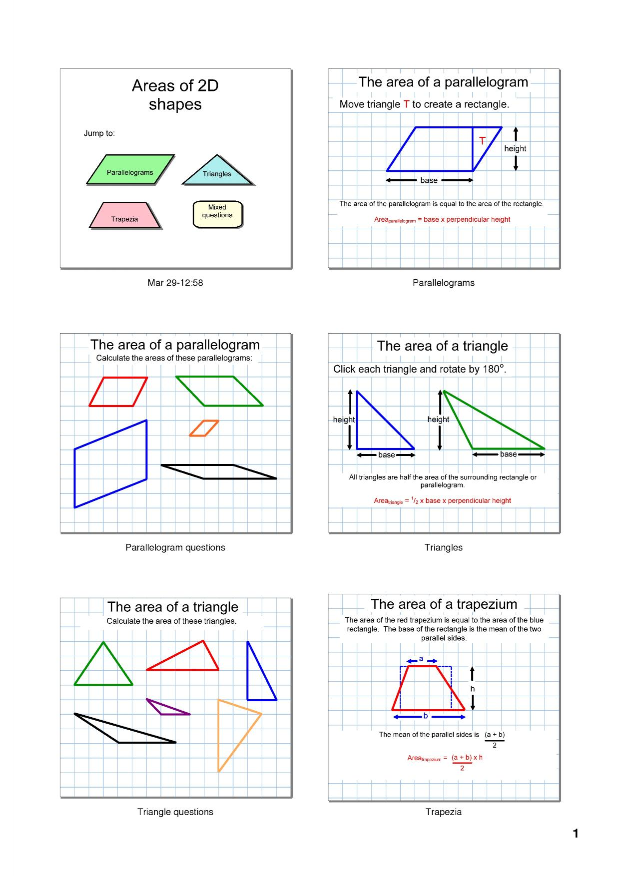 Areas Of 2d Shapes