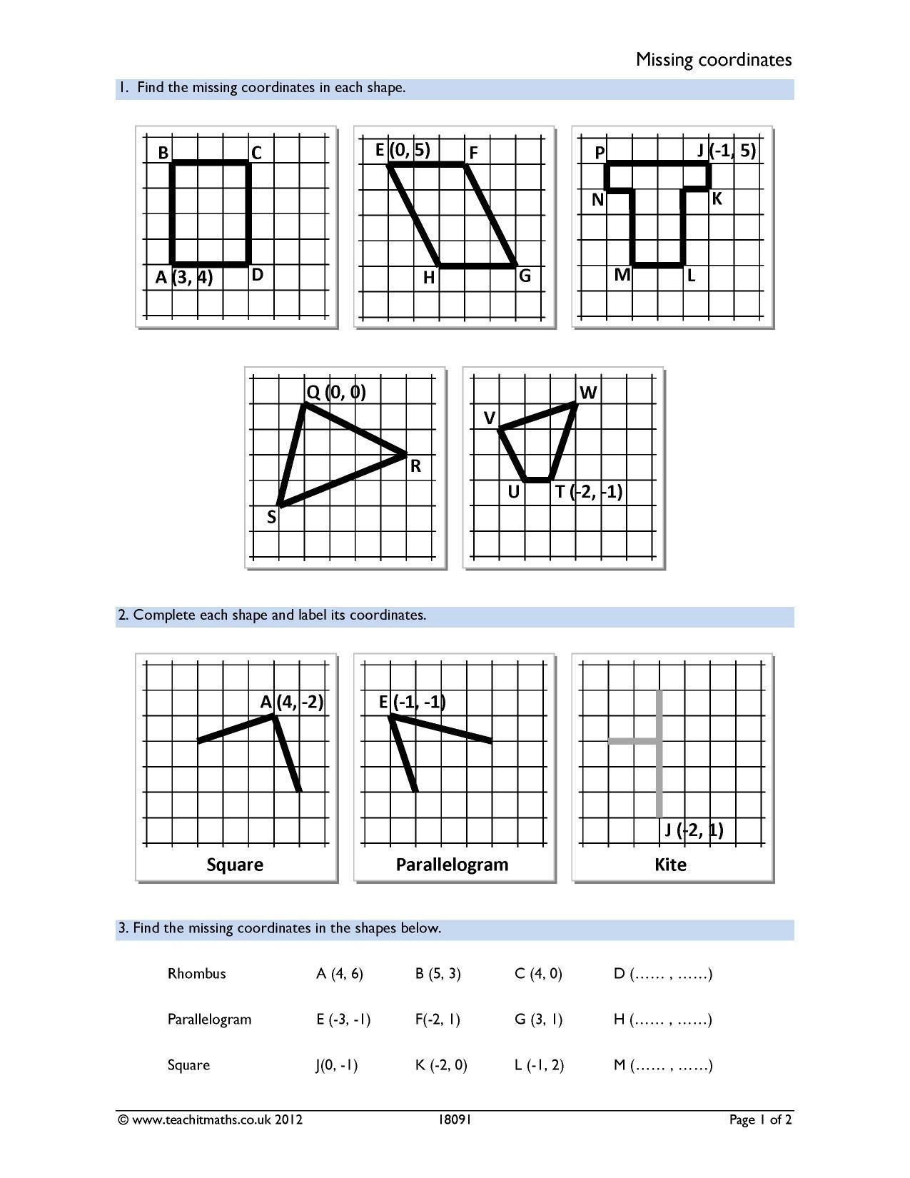 Quadrilaterals Worksheet Primary Resources