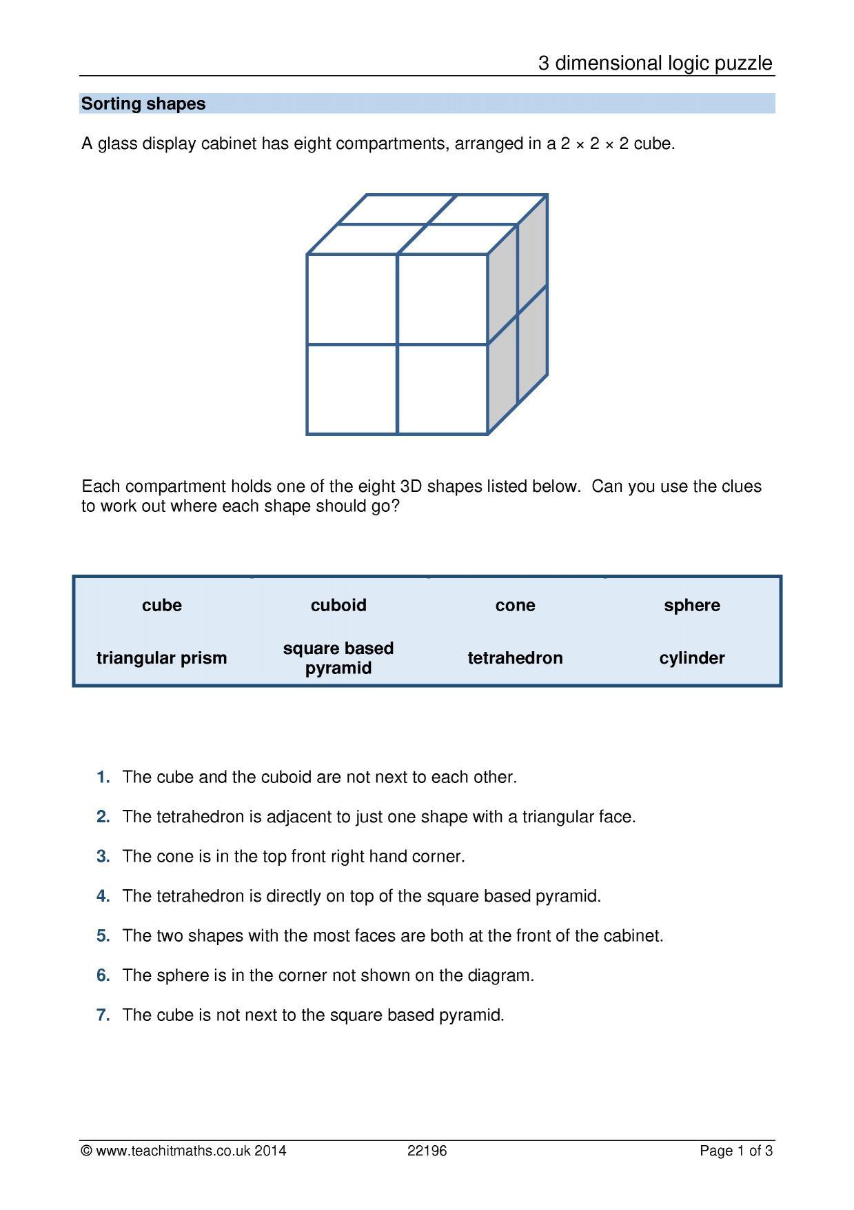 3d Shape Properties Logic Puzzle