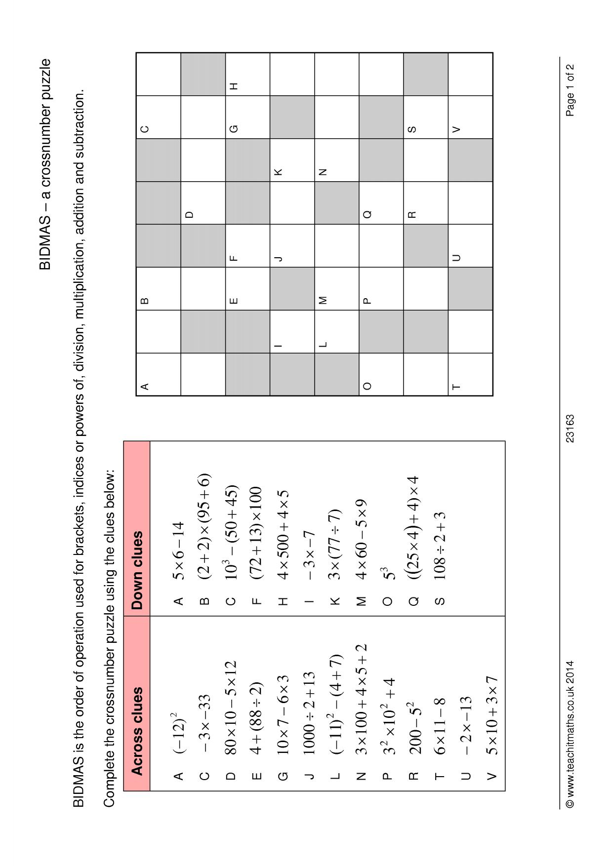 Bidmas A Crossnumber Puzzle
