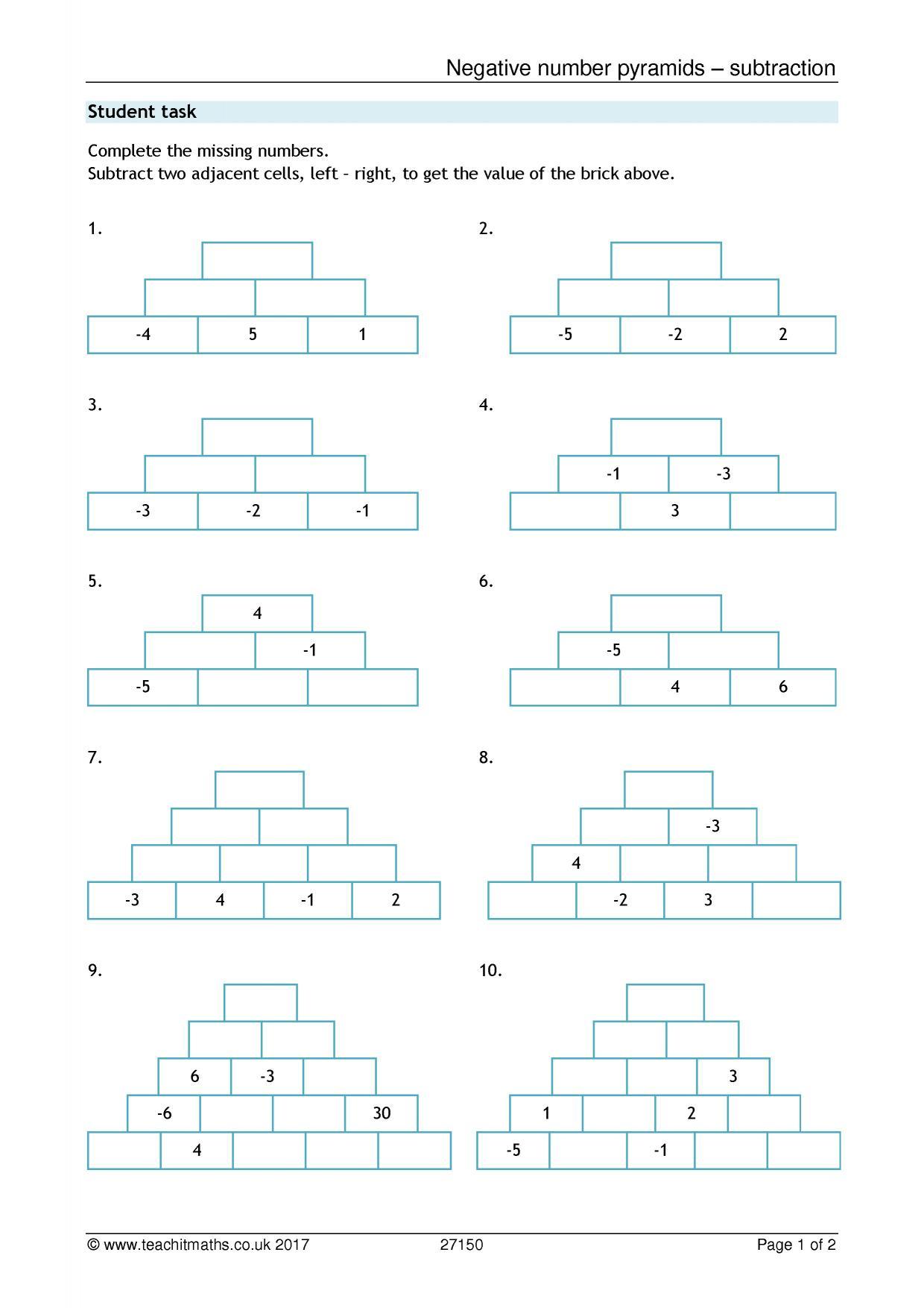 Negative Numbers Pyramids