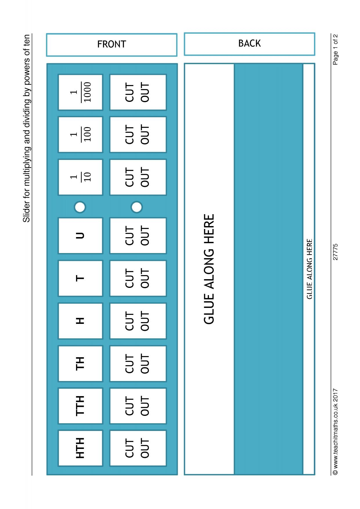 Slider For Multiplying And Dividing By Powers Of Ten