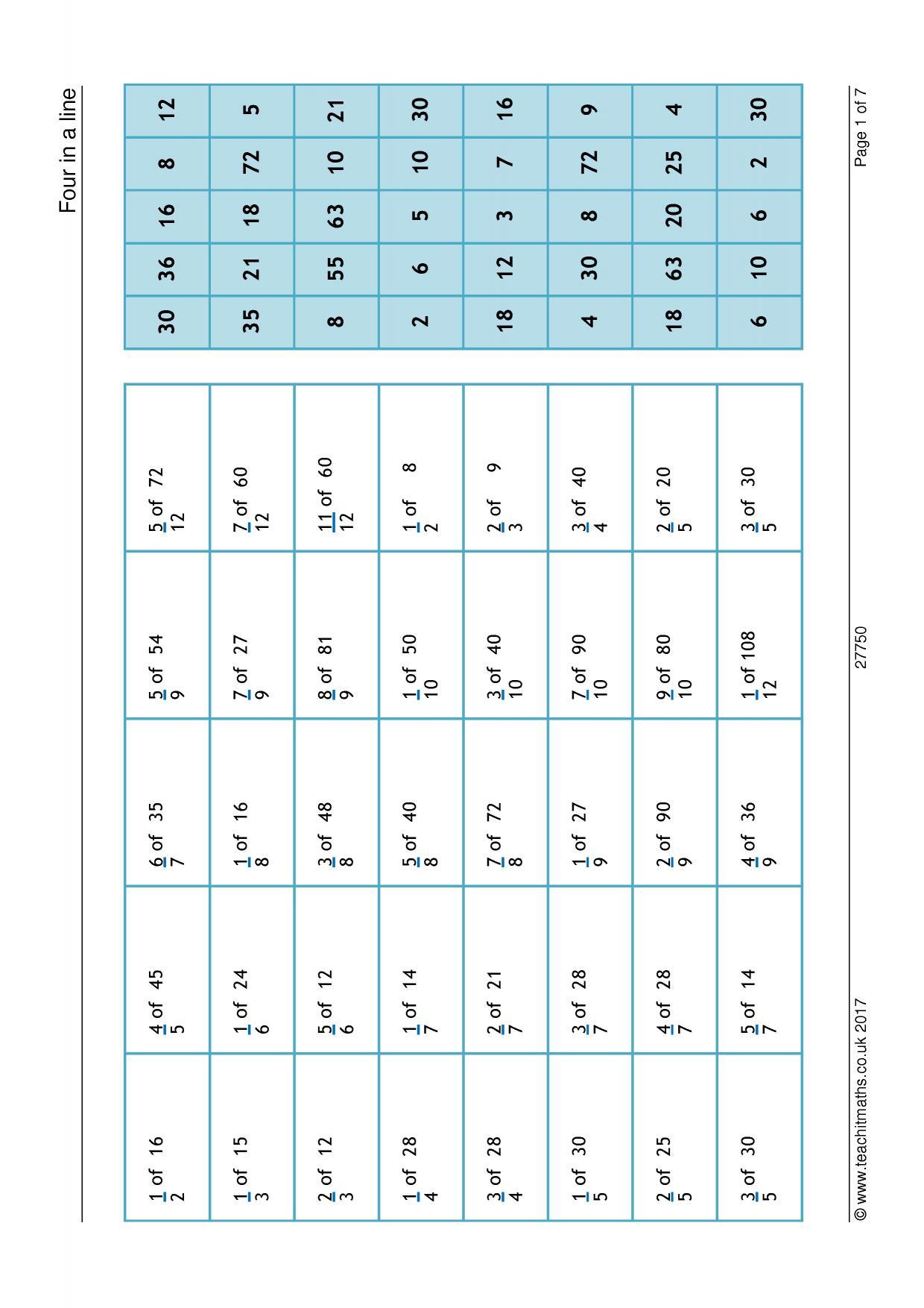 Worksheet On Fractions Of Amounts