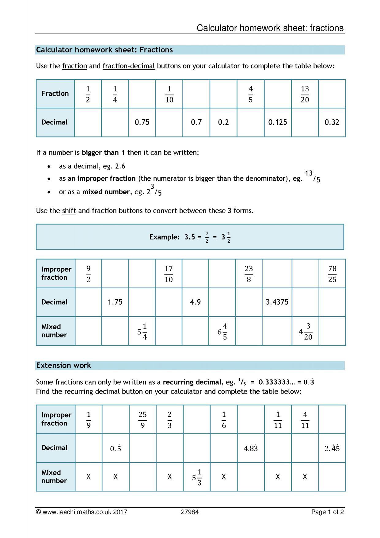 Calculator Homework Sheet Fractions