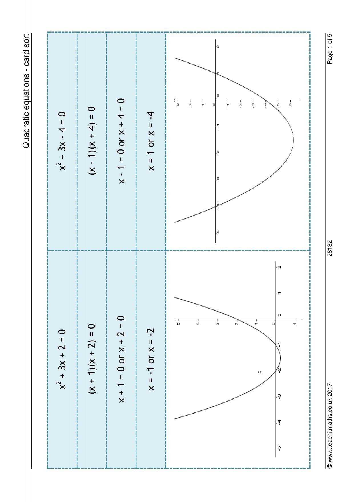 Quadratic Equations Worksheet Ks3