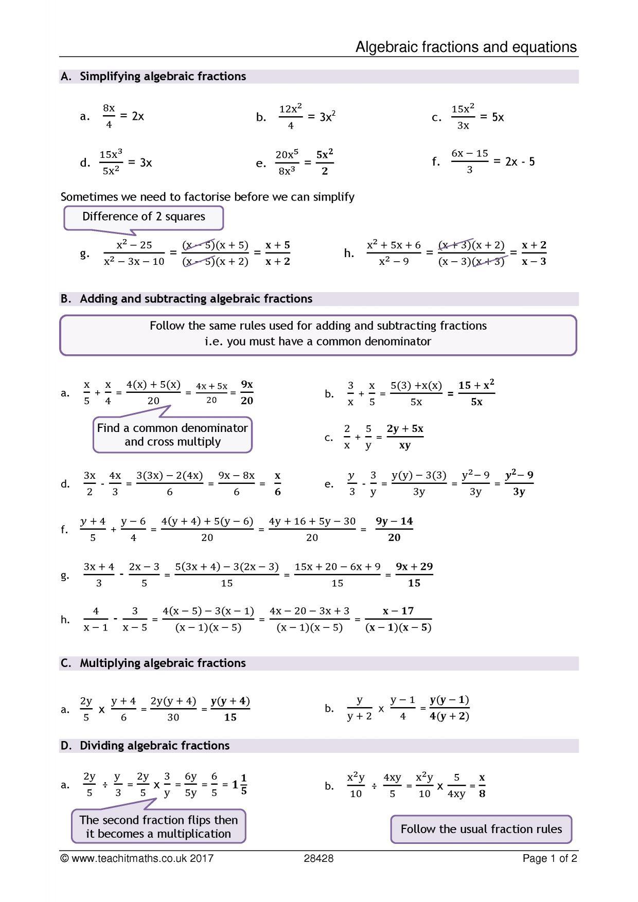 Ks4 Algebra Resources