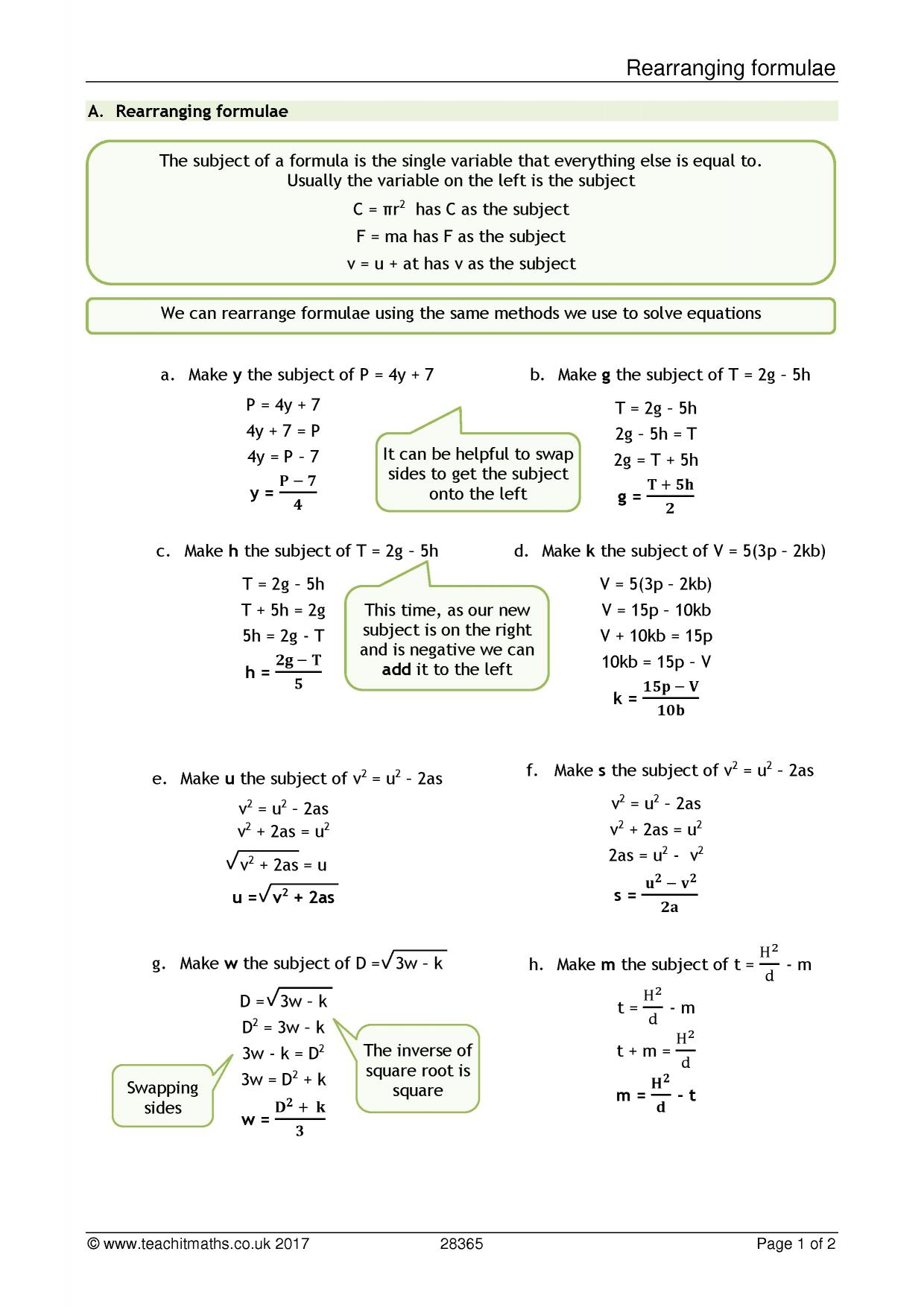 Worksheet Rearranging Formulas Worksheet Worksheet Fun