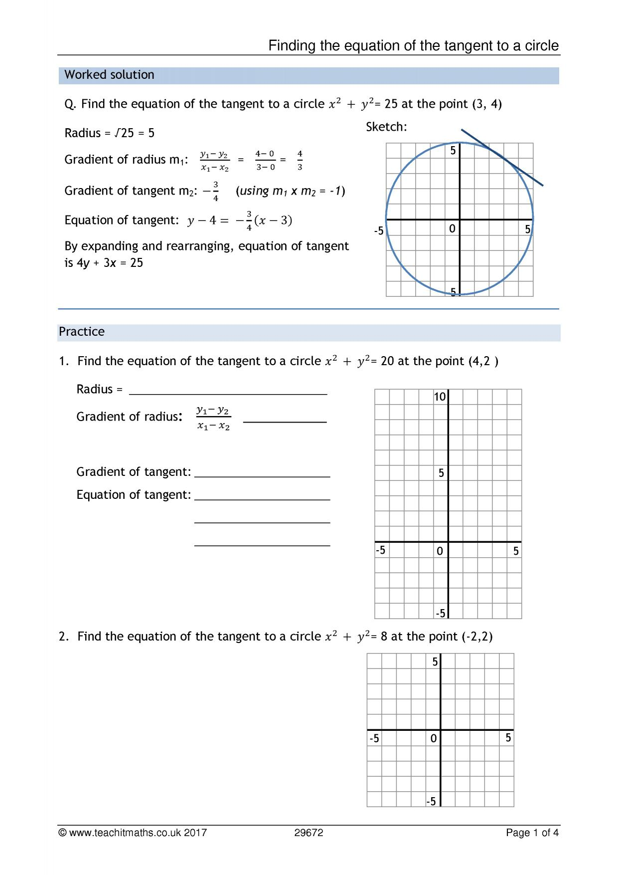 Finding The Equation Of A Tangent To A Circle