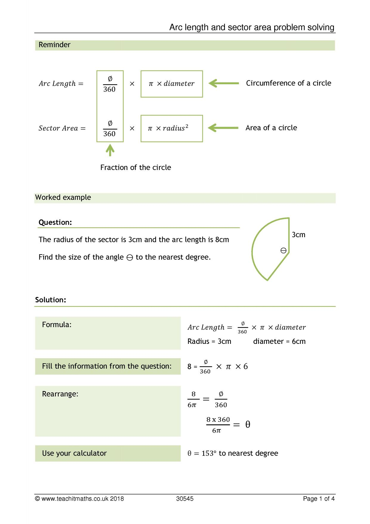 Arc Length And Sector Area Problem Solving Ks4 Maths