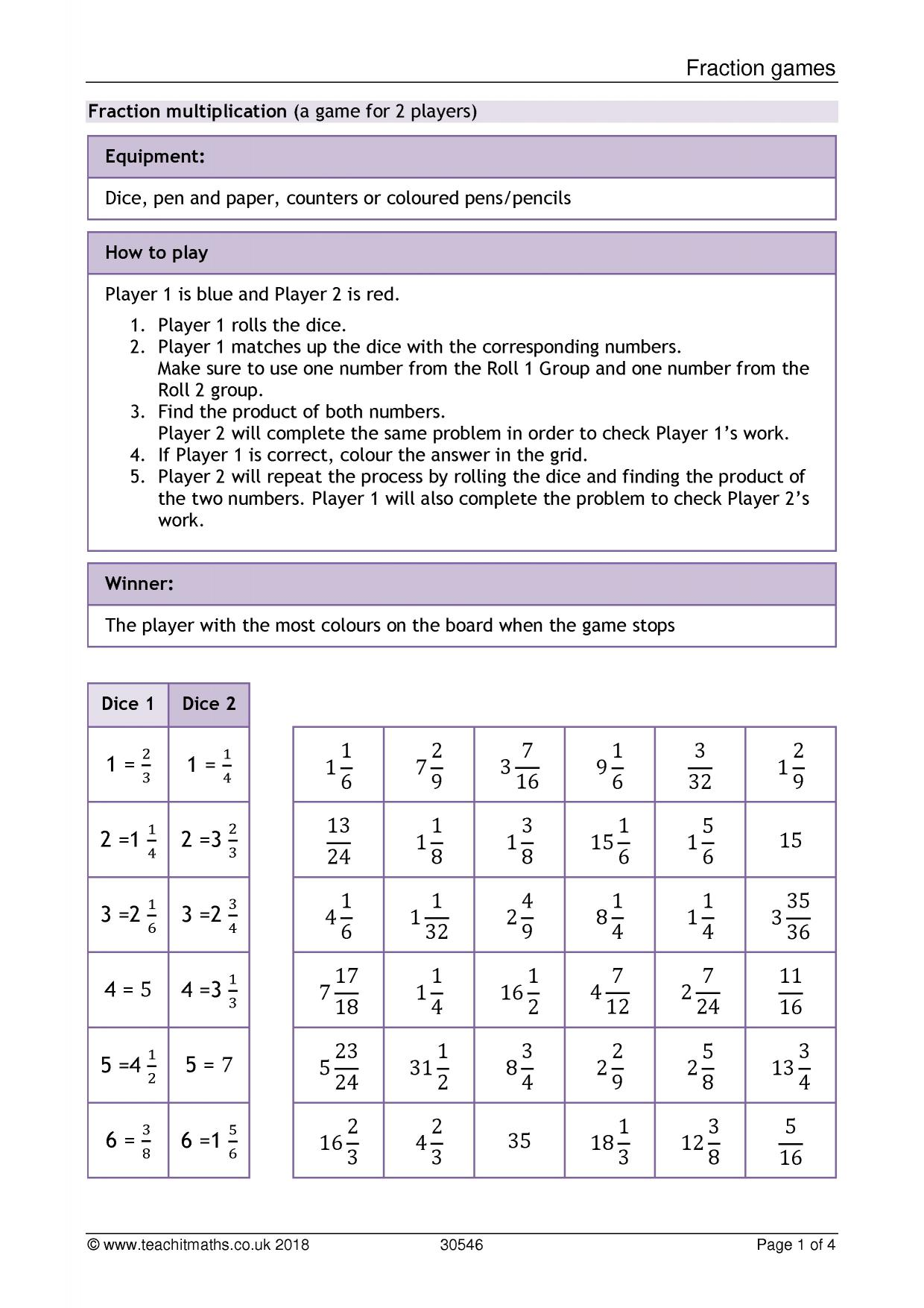 Fractions Fraction Calculations