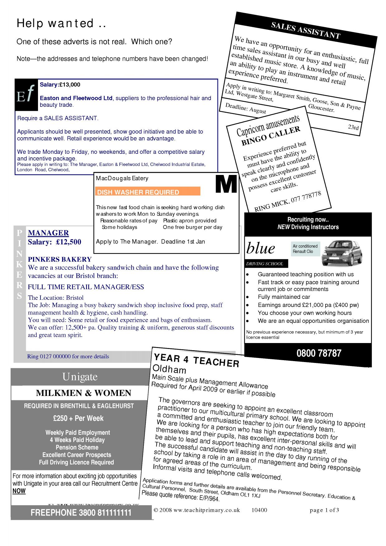 English Advertisement Worksheet