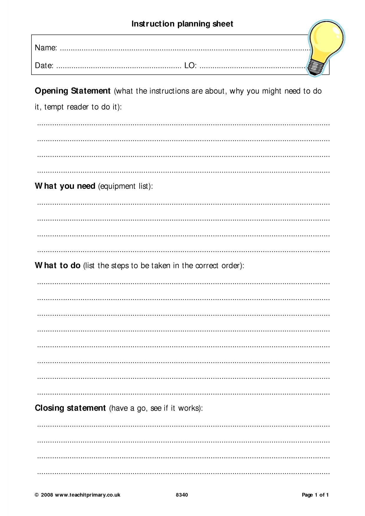 Instruction Planning Sheet