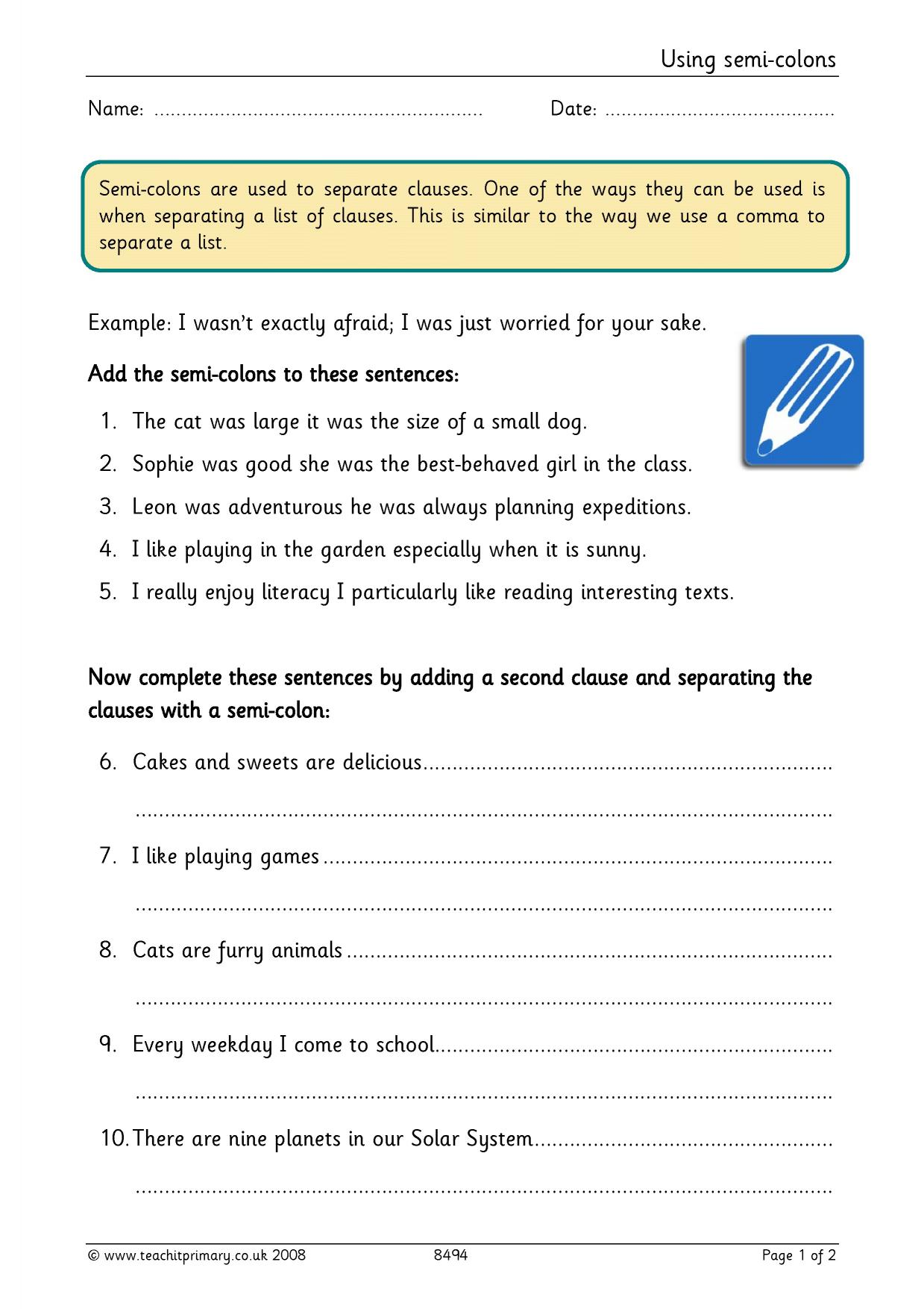 Worksheet Colons And Semicolons Worksheet Worksheet Fun