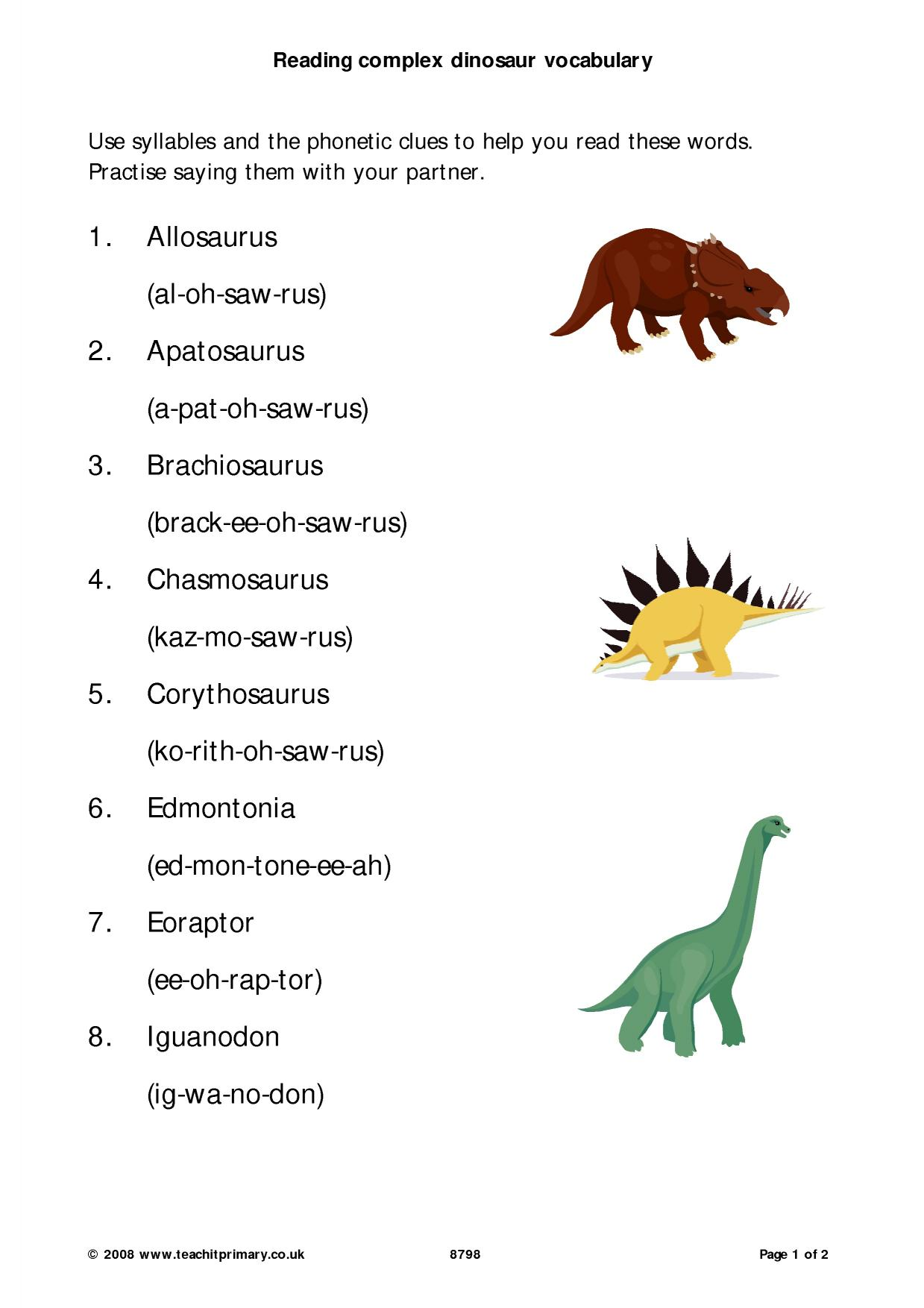 Reading Complex Dinosaur Vocabulary