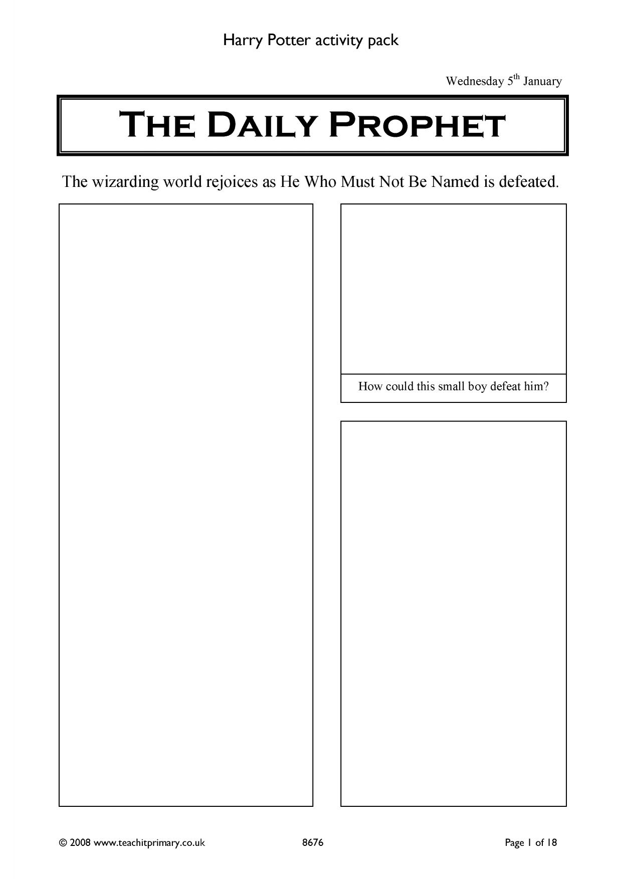 Harry Potter Vocabulary Worksheet
