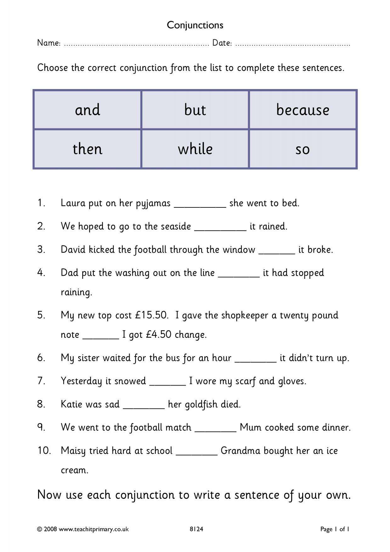 Conjunctions Cloze