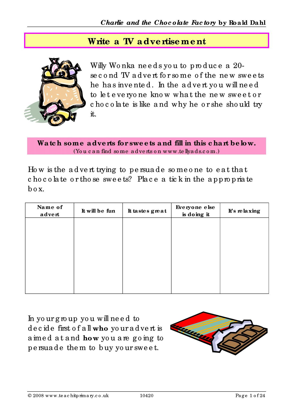 Worksheets Charlie And The Chocolate Factory Worksheets